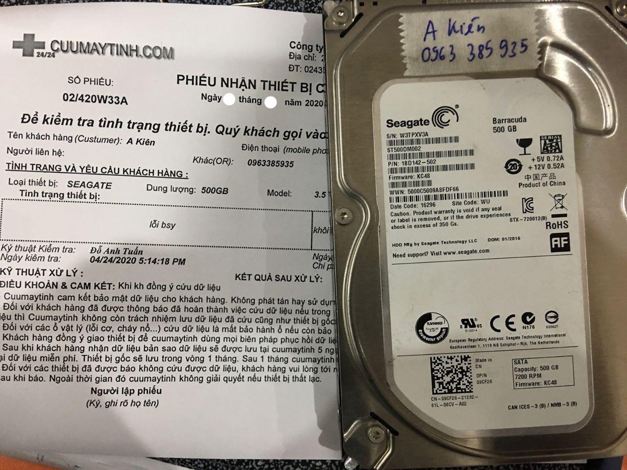 Khôi phục dữ liệu ổ cứng Seagate 500GB không nhận 05/05/2020 - cuumaytinh