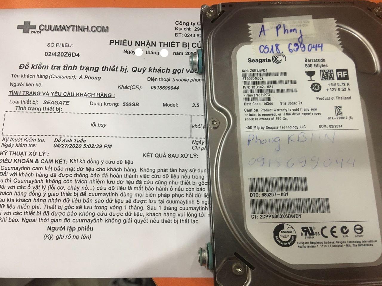Khôi phục dữ liệu ổ cứng Seagate 500GB lỗi đầu đọc 06/05/2020 - cuumaytinh