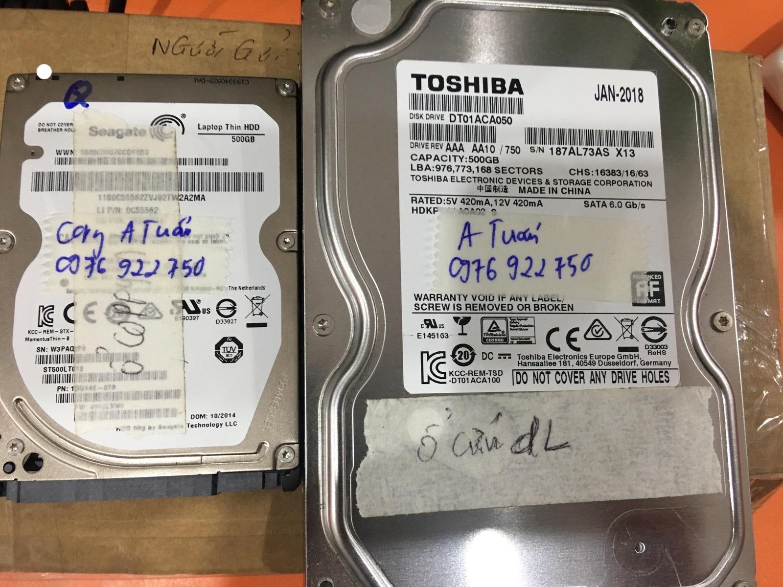 Khôi phục dữ liệu ổ cứng Toshiba 500GB bad 19/05/2020 - cuumaytinh