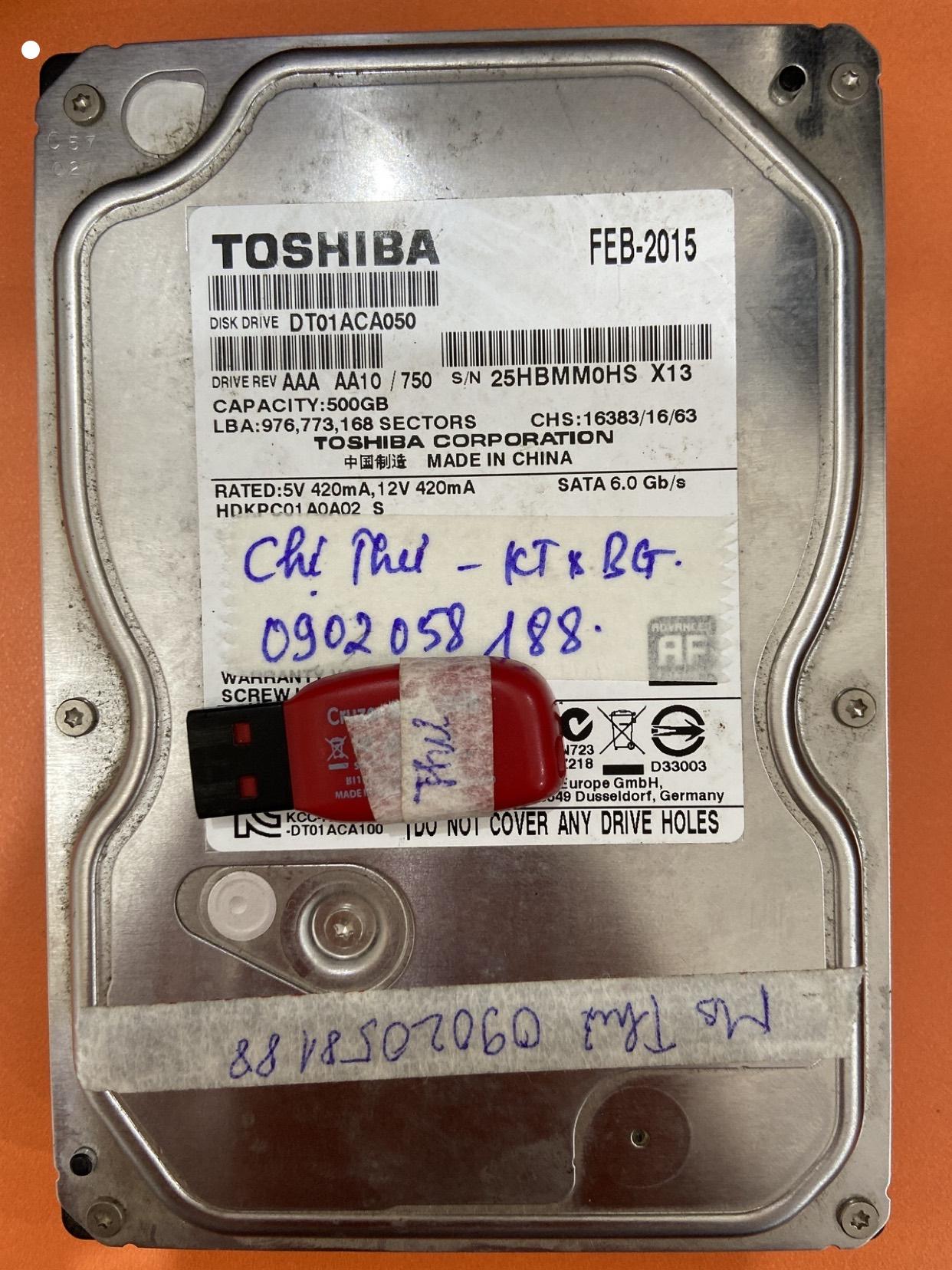 Khôi phục dữ liệu ổ cứng Toshiba 500GB lỗi đầu đọc 12/05/2020 - cuumaytinh