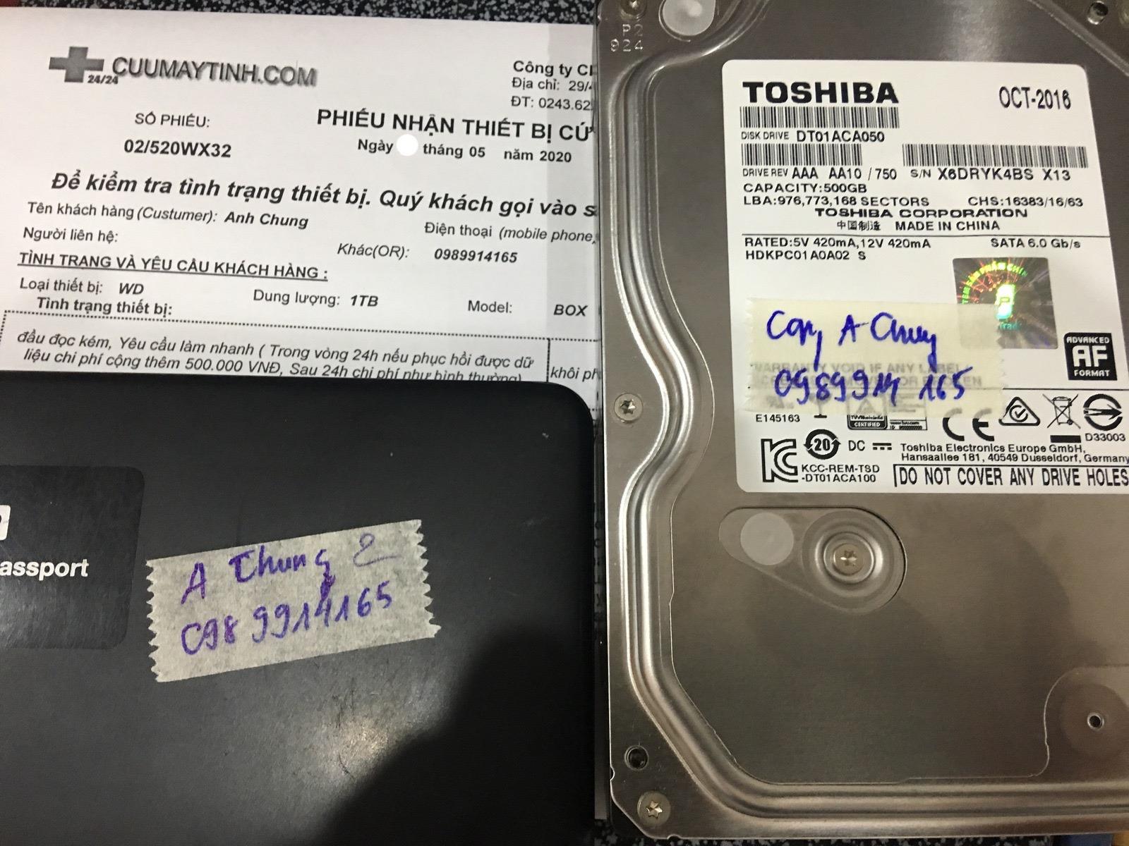 Khôi phục dữ liệu ổ cứng Western 1TB đầu đọc kém 26/05/2020 - cuumaytinh