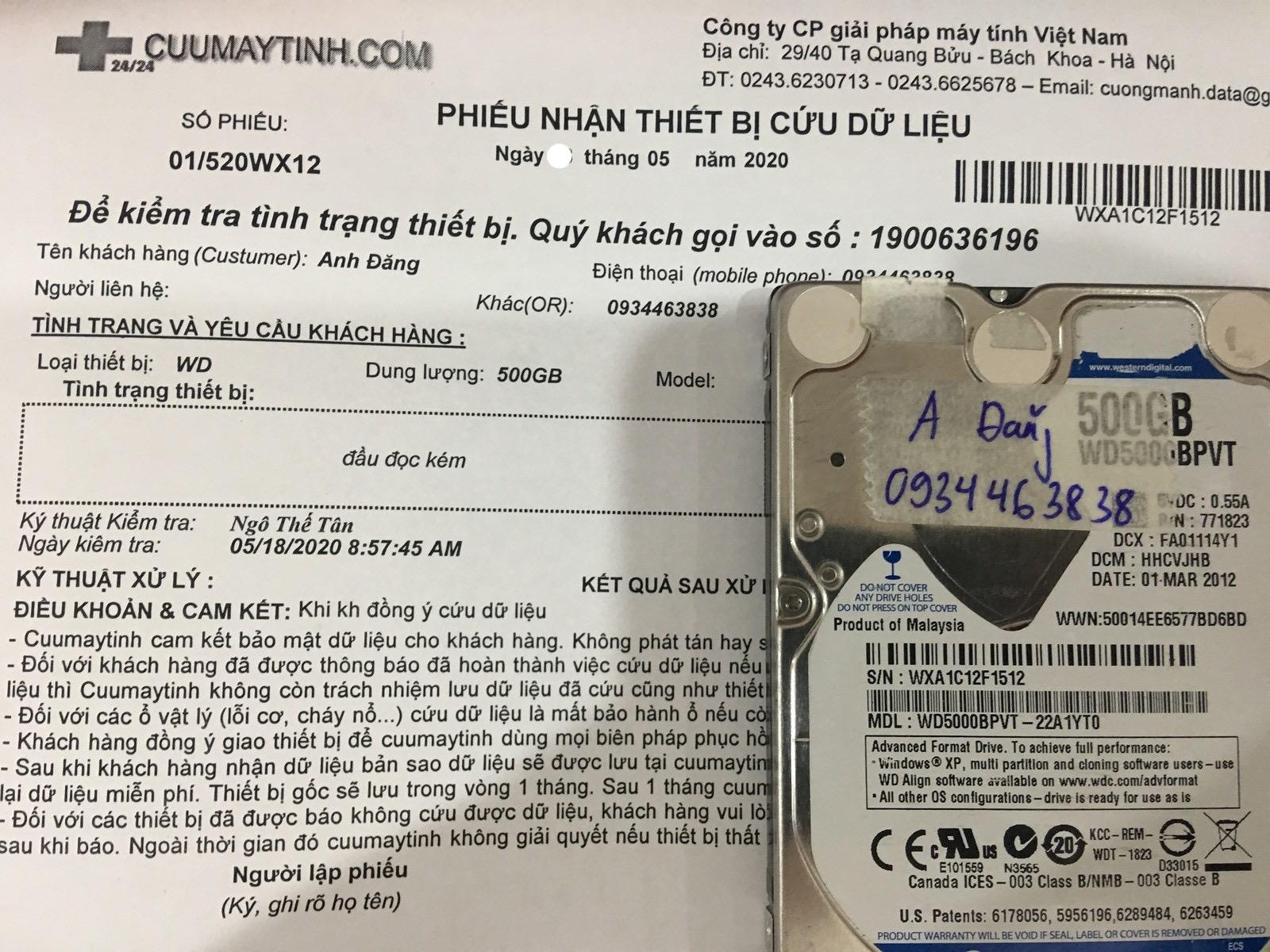 Khôi phục dữ liệu ổ cứng Western 500GB đầu đọc kém 23/05/2020 - cuumaytinh