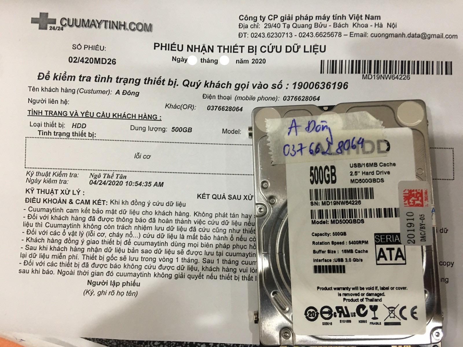 Lấy dữ liệu ổ cứng HDD 500GB lỗi cơ 07/05/2020 - cuumaytinh