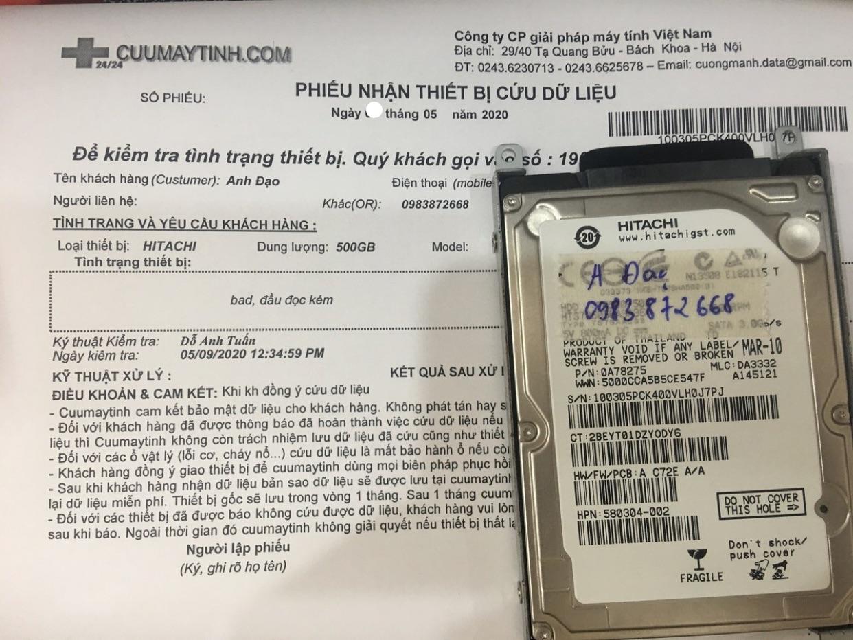 Lấy dữ liệu ổ cứng Hitachi 500GB lỗi đầu đọc 19/05/2020 - cuumaytinh