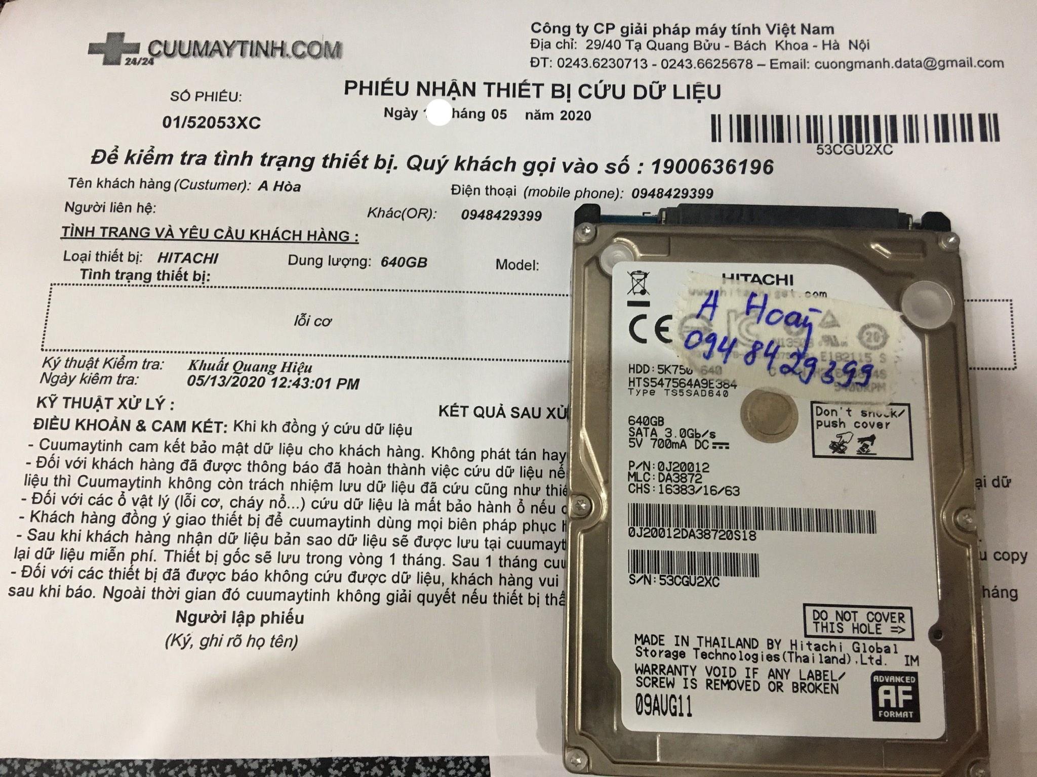 Lấy dữ liệu ổ cứng Hitachi 640GB lỗi cơ 21/05/2020 - cuumaytinh