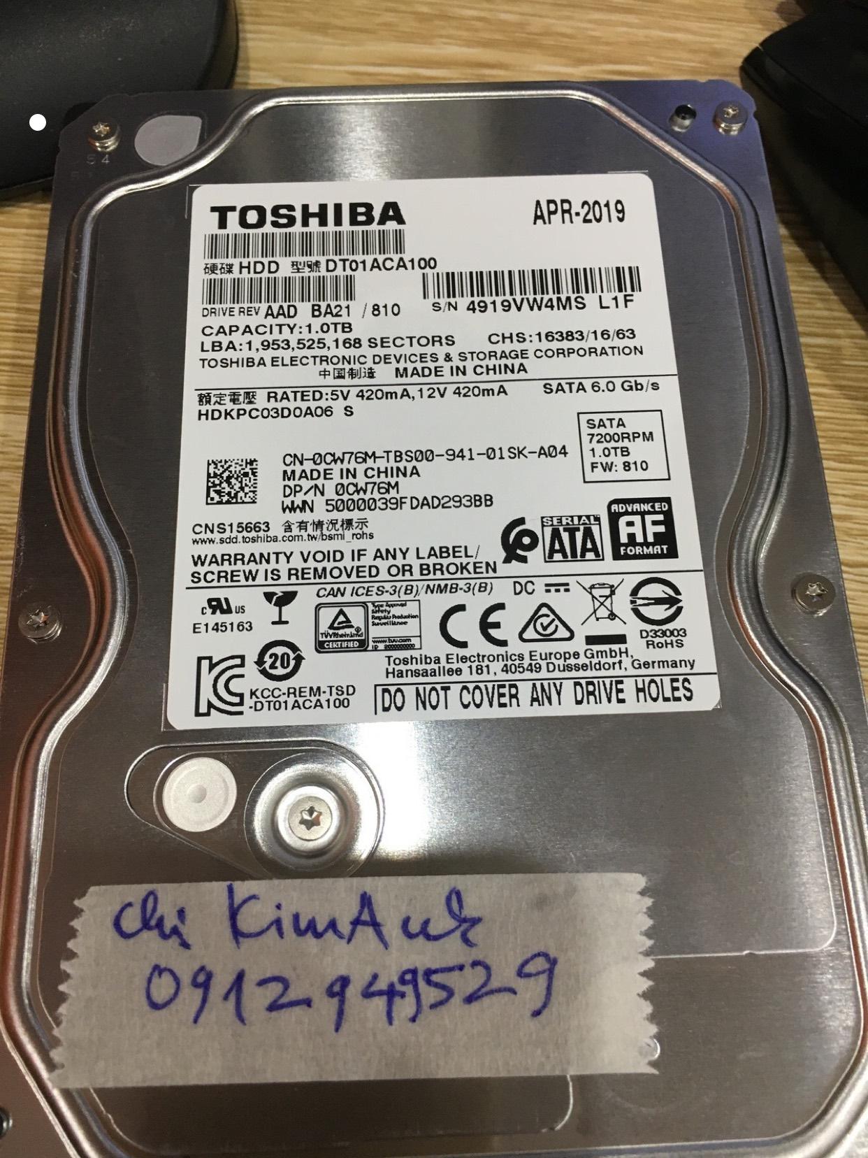 Lấy dữ liệu ổ cứng Toshiba 1TB đầu đọc kém 05/05/2020 - cuumaytinh