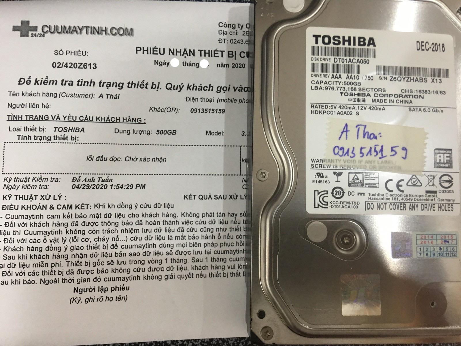 Lấy dữ liệu ổ cứng Toshiba 500GB lỗi đầu đọc 18/05/2020 - cuumaytinh