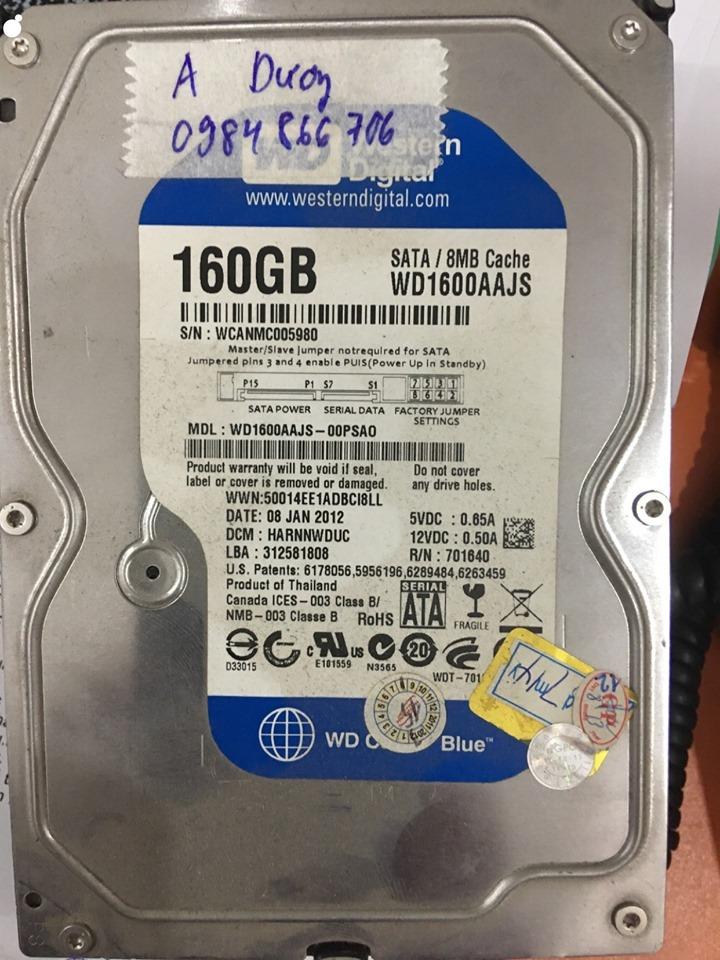 Lấy dữ liệu ổ cứng Western 160GB lỗi đầu đọc 16/05/2020 - cuumaytinh