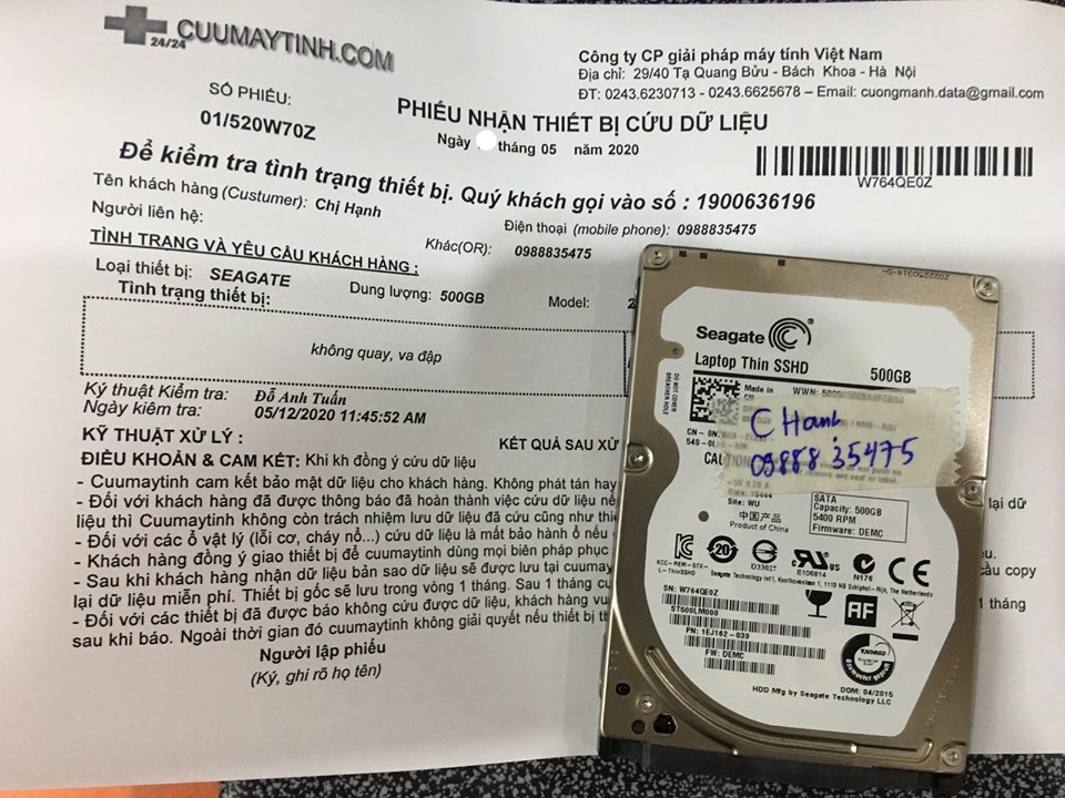 Phục hồi dữ liệu ổ cứng Seagate 500GB không nhận 16/05/2020 - cuumaytinh