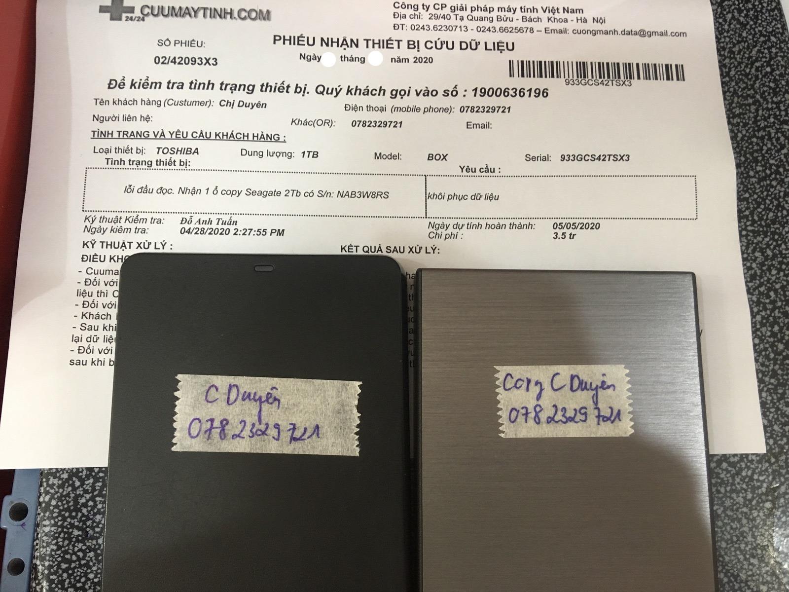 Phục hồi dữ liệu ổ cứng Toshiba 1TB lỗi đầu đọc 08/05/2020 - cuumaytinh