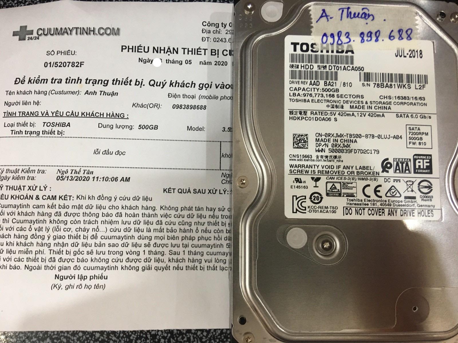 Phục hồi dữ liệu ổ cứng Toshiba 500GB lỗi cơ 18/05/2020 - cuumaytinh