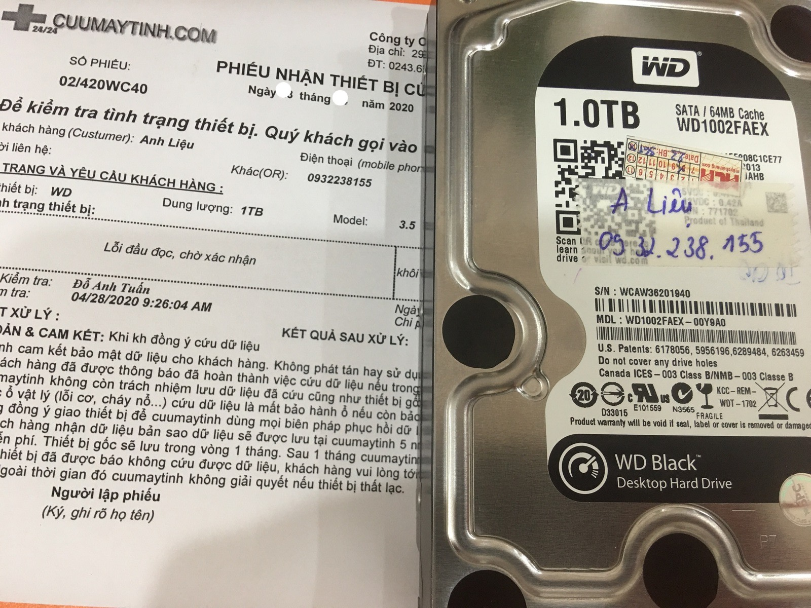 Phục hồi dữ liệu ổ cứng Western 1TB lỗi đầu đọc 15/05/2020 - cuumaytinh