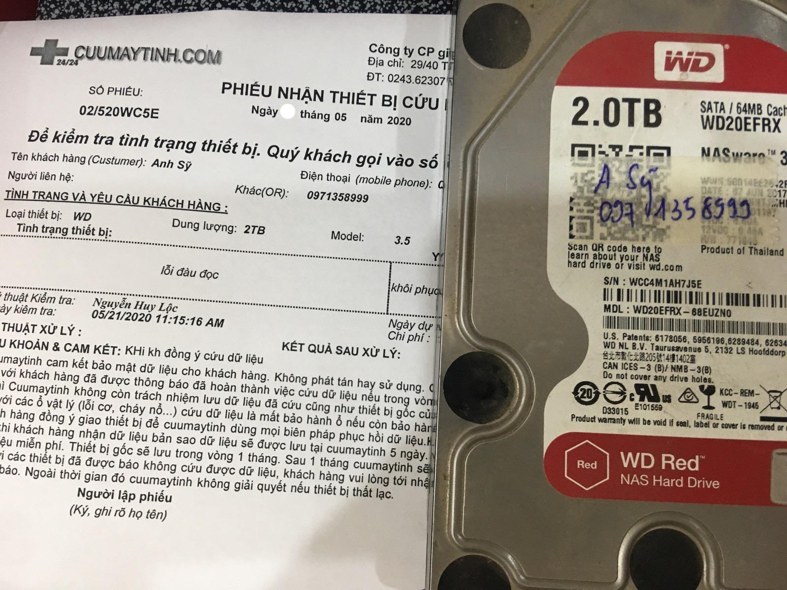 Phục hồi dữ liệu ổ cứng Western 2TB lỗi đầu đọc 25/05/2020 - cuumaytinh