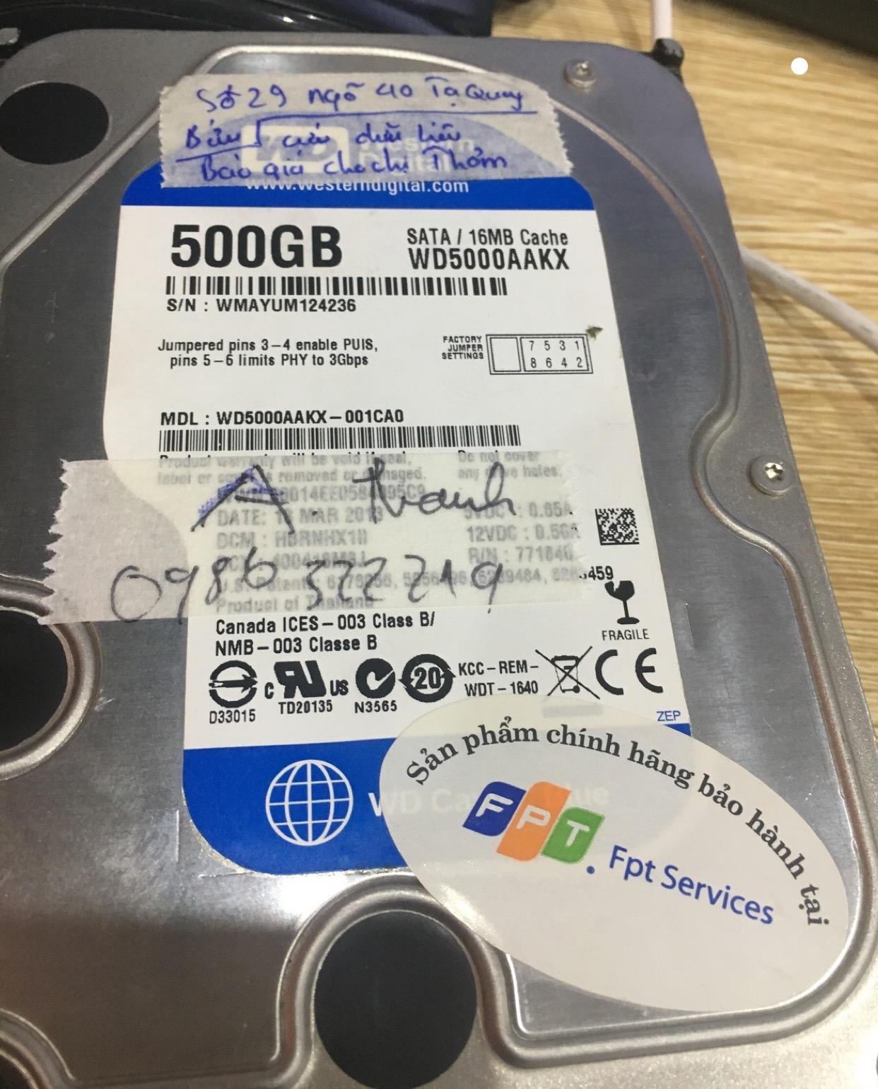 Phục hồi dữ liệu ổ cứng Western 500GB lỗi đầu đọc 12/05/2020 - cuumaytinh