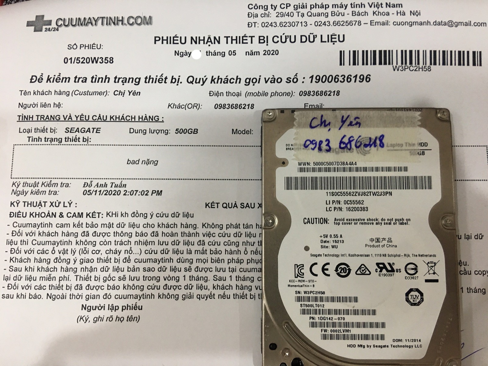 Cứu dữ liệu ổ cứng Seagate 500GB bad 13/05/2020 - cuumaytinh