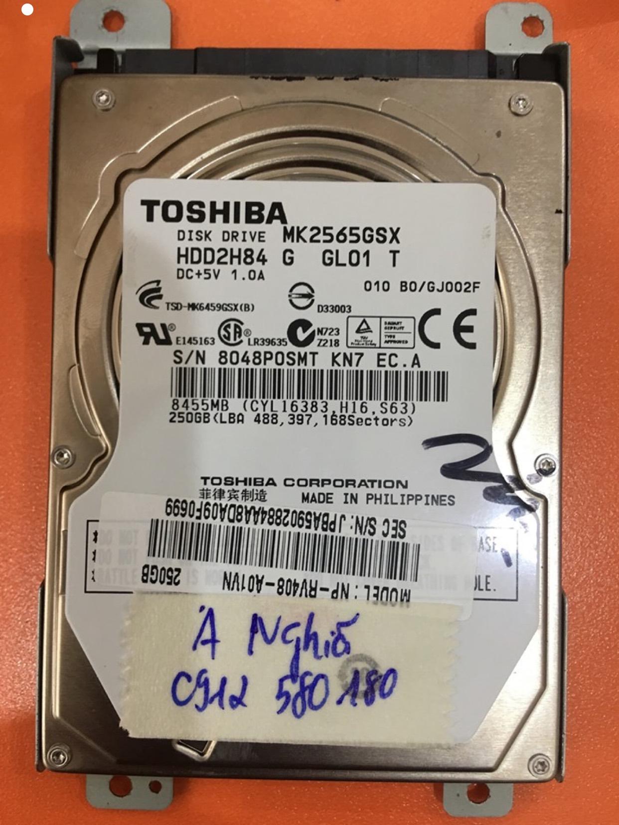 Cứu dữ liệu ổ cứng Toshiba 250GB lỗi cơ 27/05/2020 - cuumaytinh