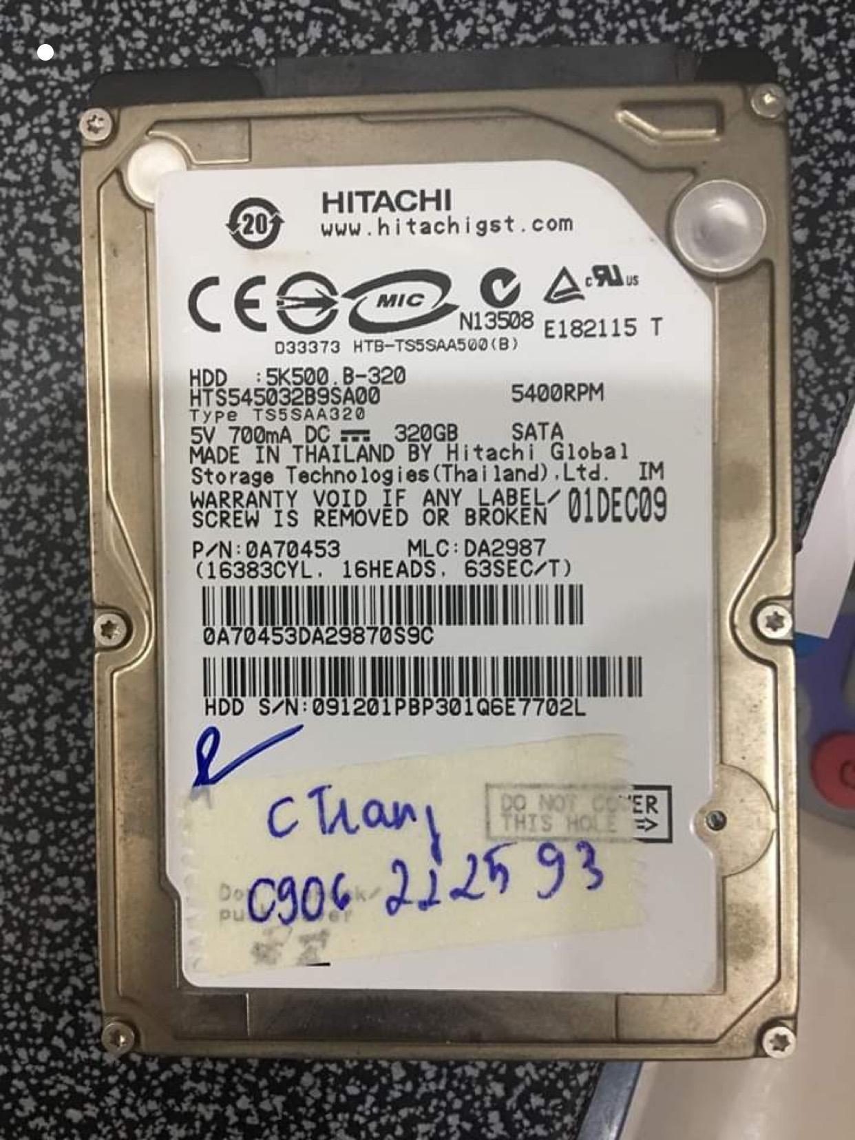 Cứu dữ liệu ổ cứng Hitachi 320GB lỗi đầu đọc 15/06/2020 - cuumaytinh