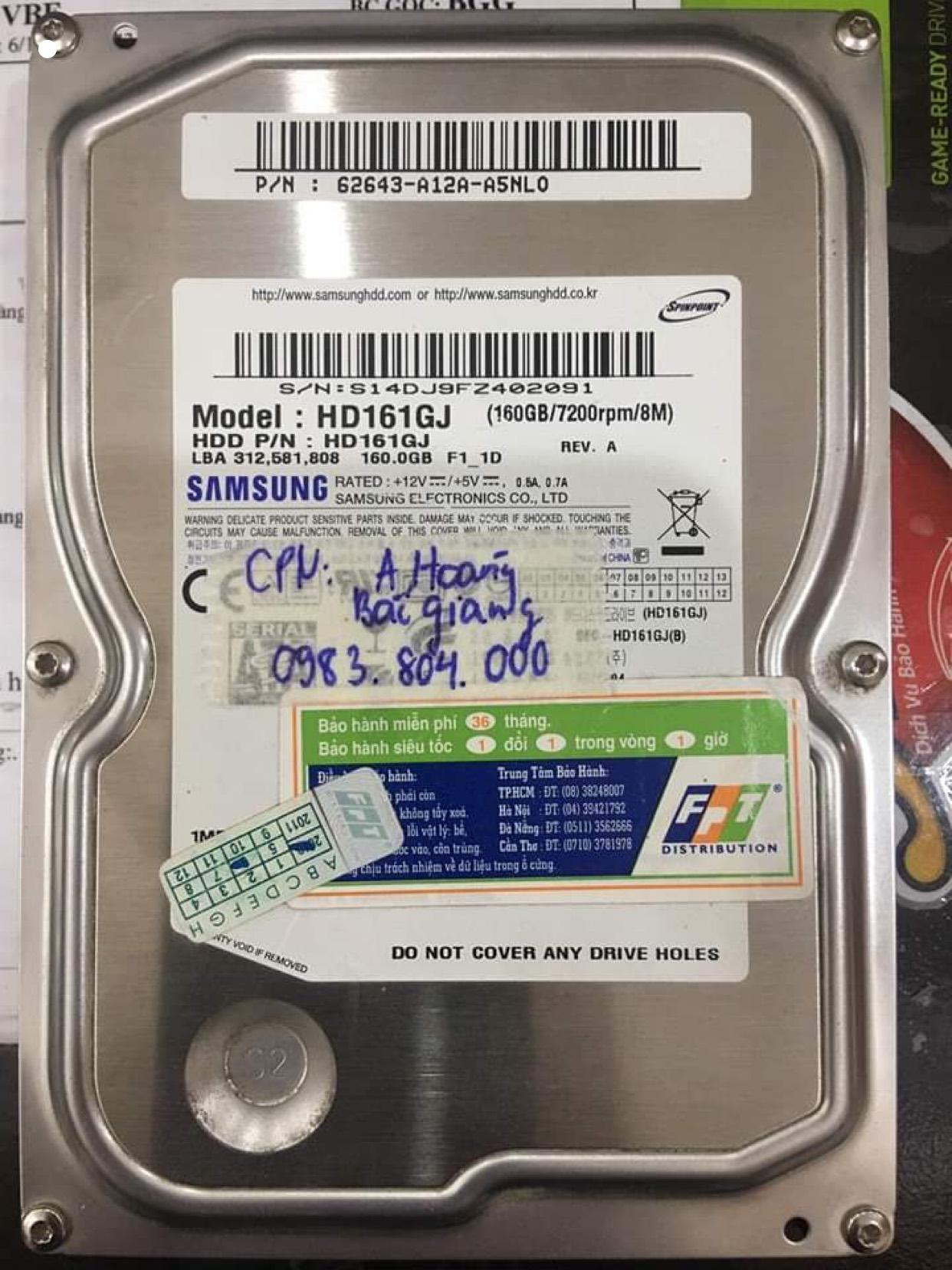 Cứu dữ liệu ổ cứng Samsung 160GB lỗi đầu đọc tại Bắc Giang 22/06/2020 - cuumaytinh