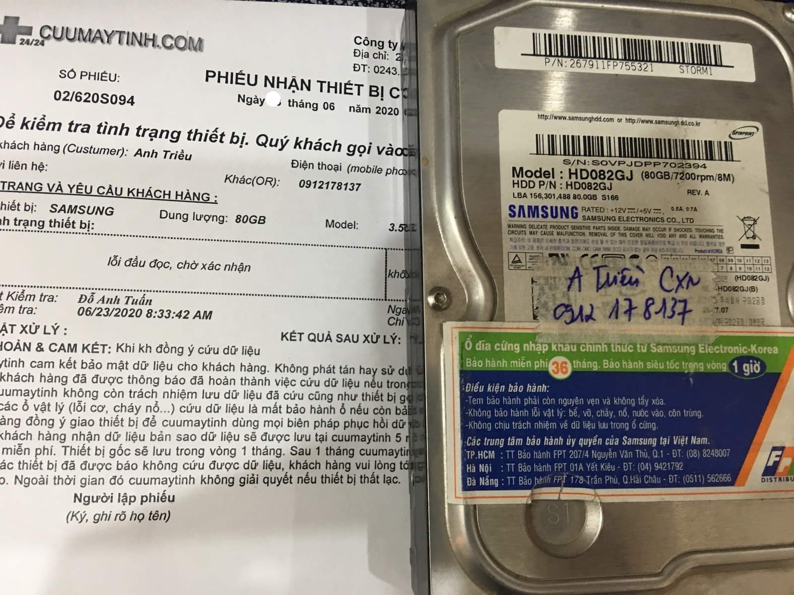 Cứu dữ liệu ổ cứng Samsung 80GB lỗi đầu đọc 25/06/2020 - cuumaytinh