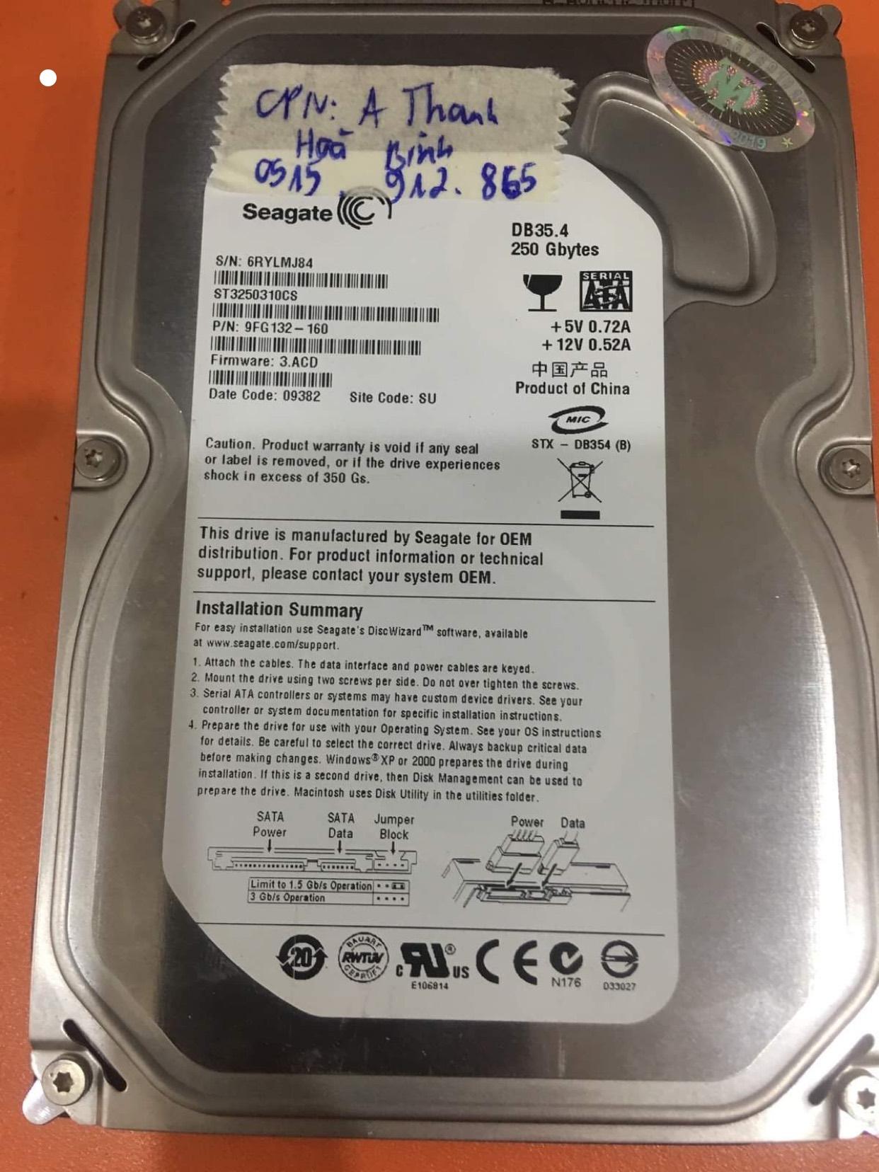 Cứu dữ liệu ổ cứng Seagate 250GB lỗi cơ tại Hòa Bình 26/06/2020 - cuumaytinh