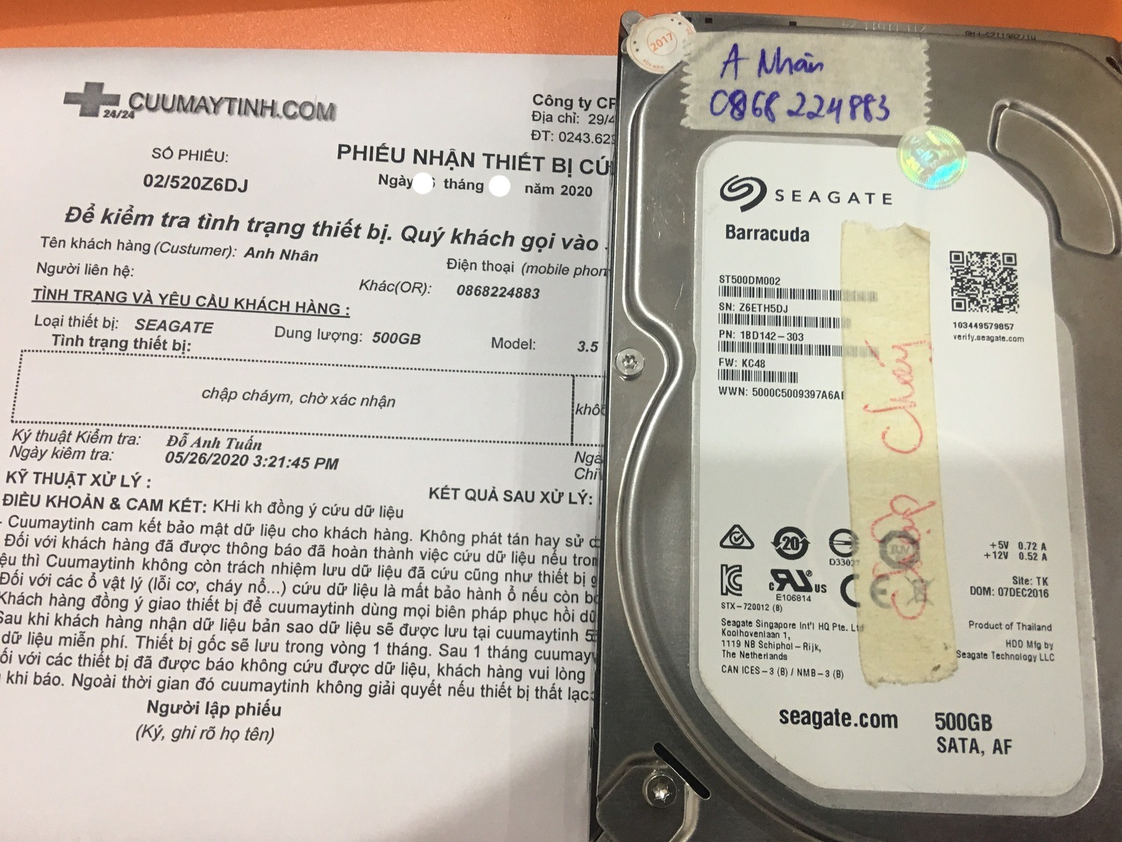 Cứu dữ liệu ổ cứng Seagate 500GB lỗi đầu đọc 02/06/2020 - cuumaytinh