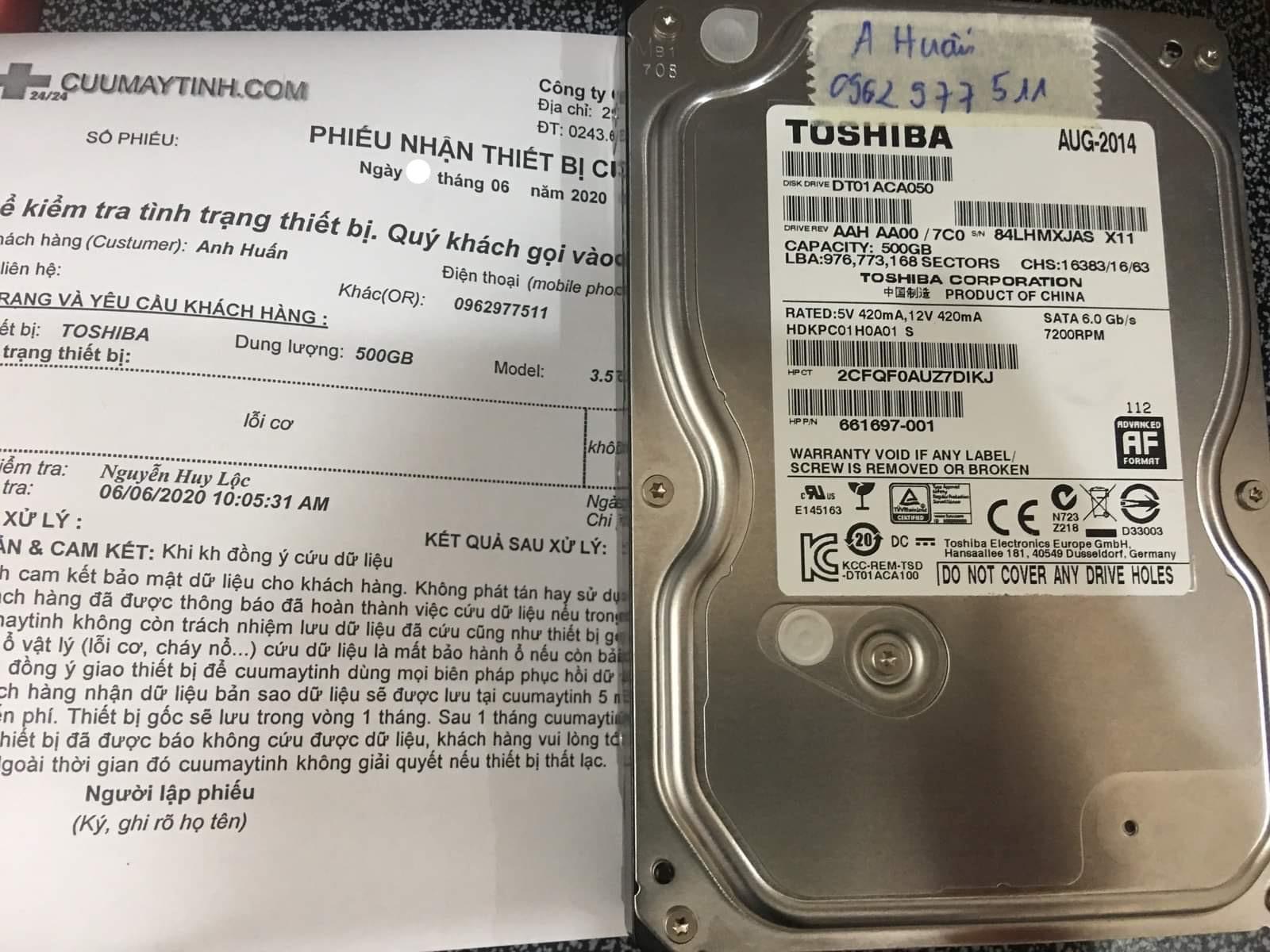 Cứu dữ liệu ổ cứng Toshiba 500GB lỗi cơ 10/06/2020 - cuumaytinh