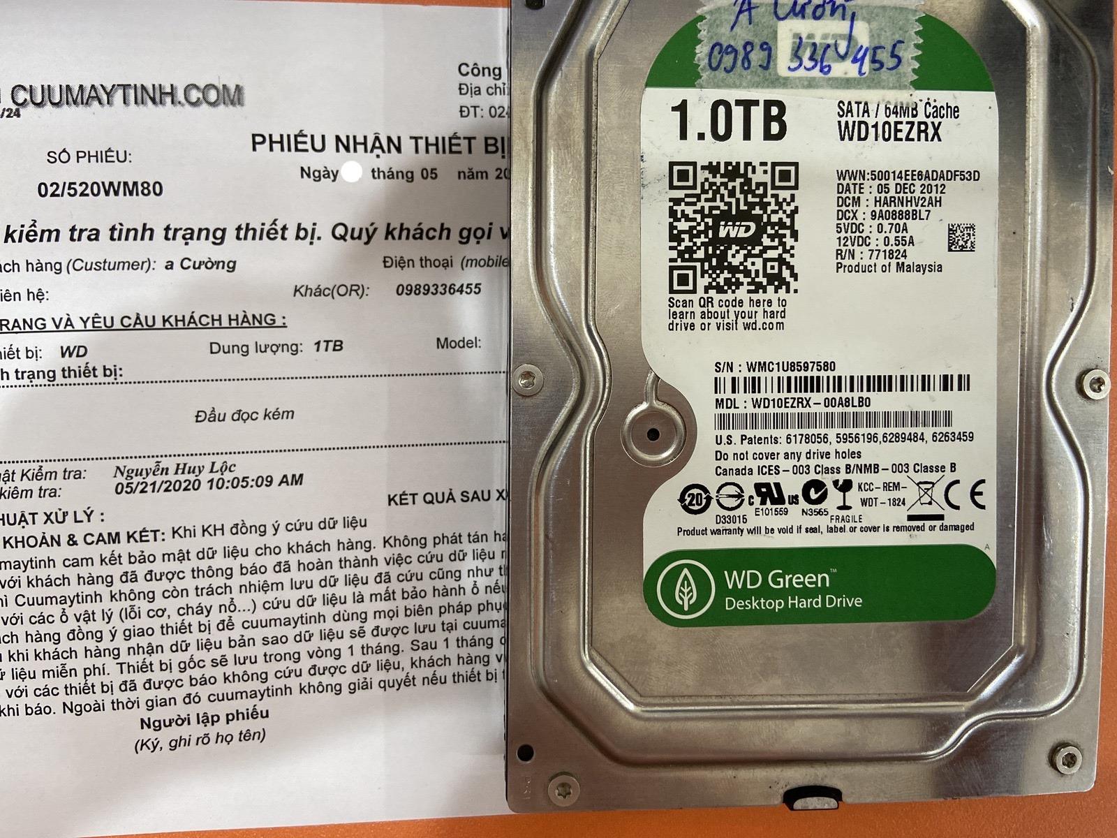 Cứu dữ liệu ổ cứng Western 1TB đầu đọc kém 28/05/2020 - cuumaytinh