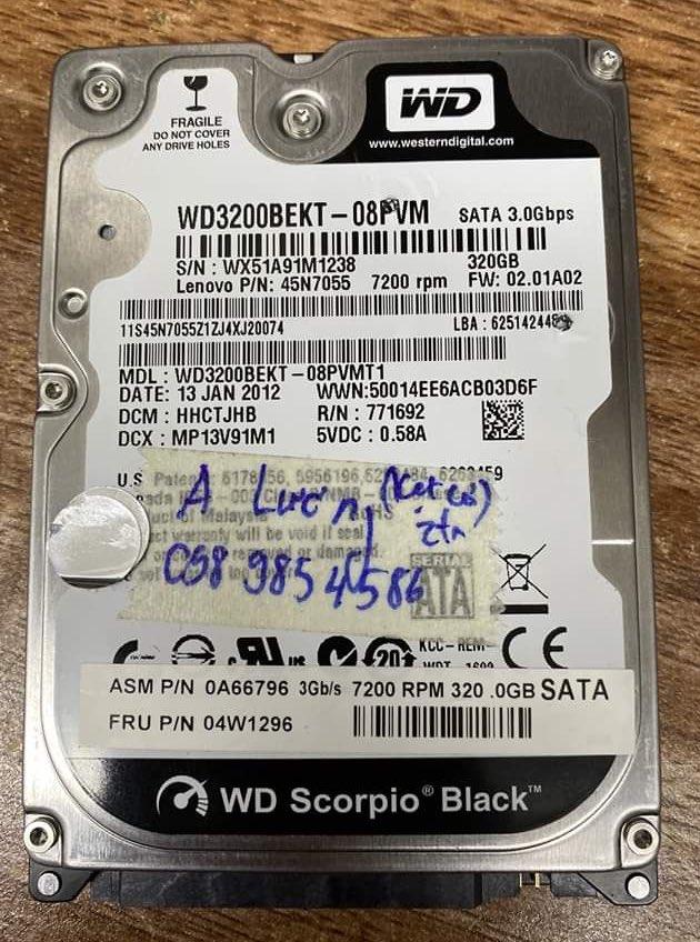 Cứu dữ liệu ổ cứng Western 320GB bó cơ 19/06/2020 - cuumaytinh