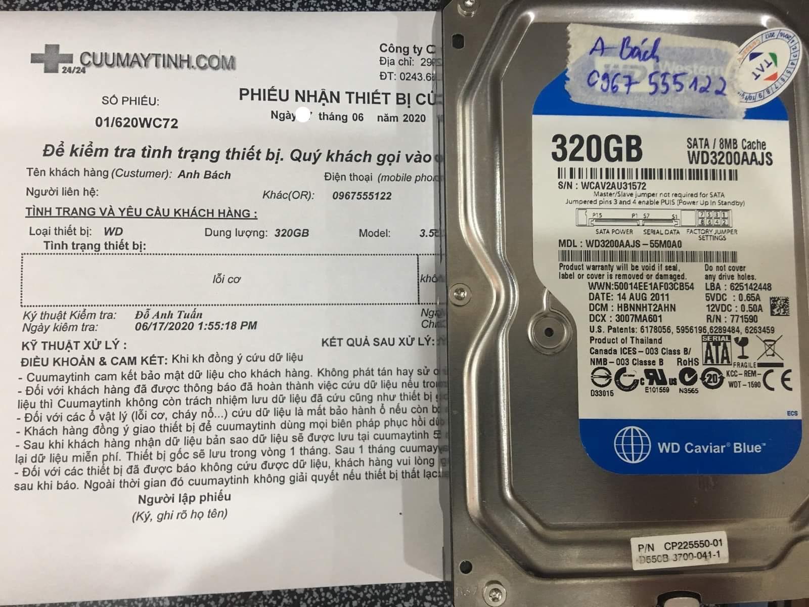Cứu dữ liệu ổ cứng Western 320GB lỗi cơ 20/06/2020 - cuumaytinh
