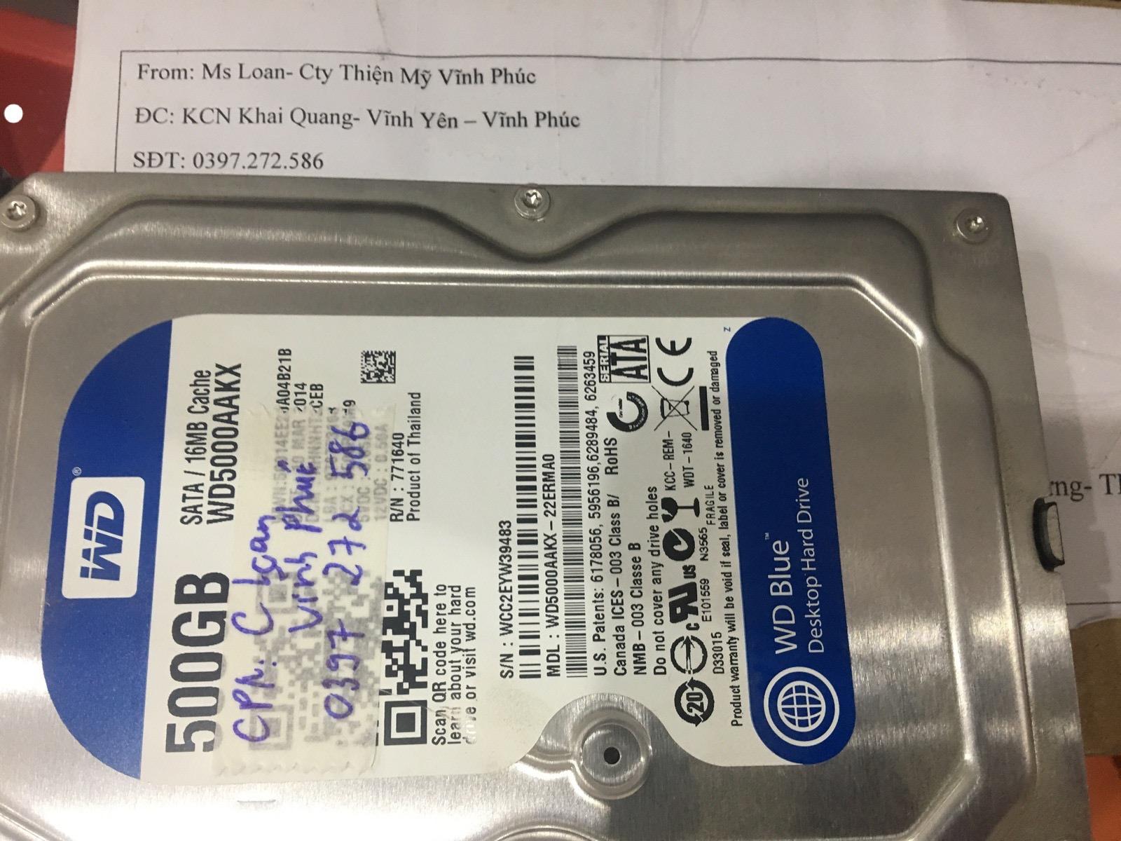 Cứu dữ liệu ổ cứng Western 500GB không quay tại Vĩnh Phúc 02/06/2020 - cuumaytinh