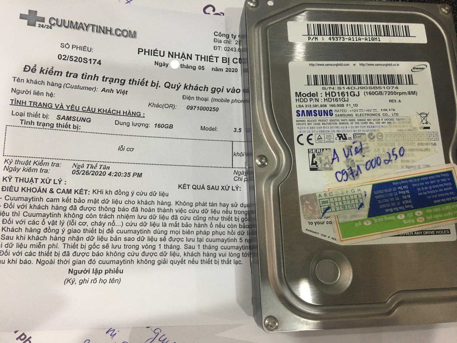 Khôi phục dữ liệu ổ cứng Samsung 160GB lỗi cơ 30/05/2020 - cuumaytinh