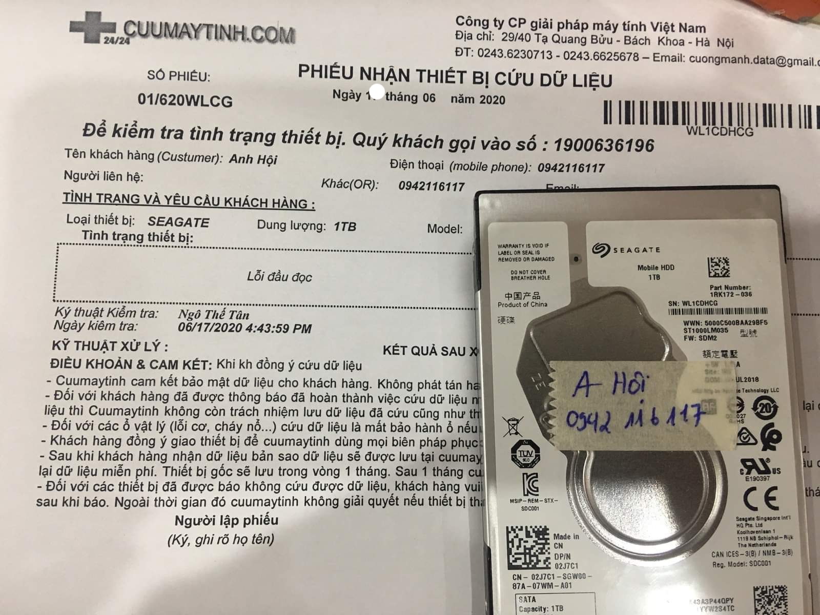 Khôi phục dữ liệu ổ cứng Seaagte 1TB lỗi đầu đọc 22/06/2020 - cuumaytinh