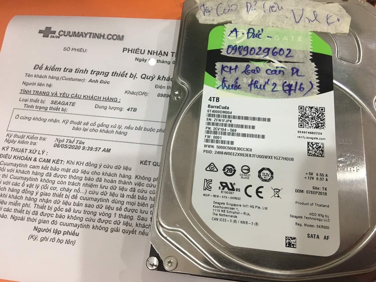 Khôi phục dữ liệu ổ cứng Seagate 4TB không nhận 09/06/2020 - cuumaytinh