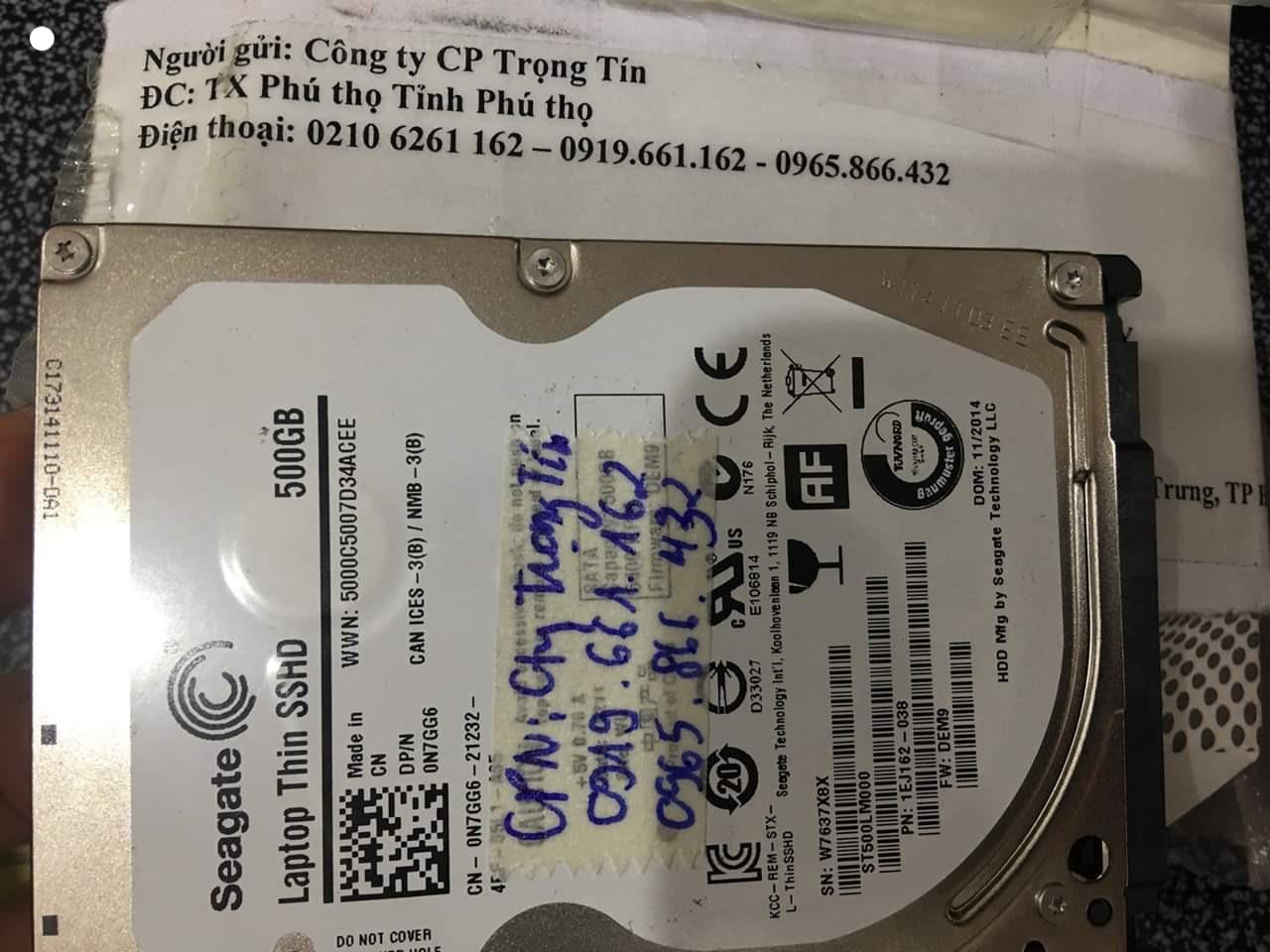 Khôi phục dữ liệu ổ cứng Seagate 500GB đầu đọc kém tại Phú Thọ 03/06/2020 - cuumaytinh