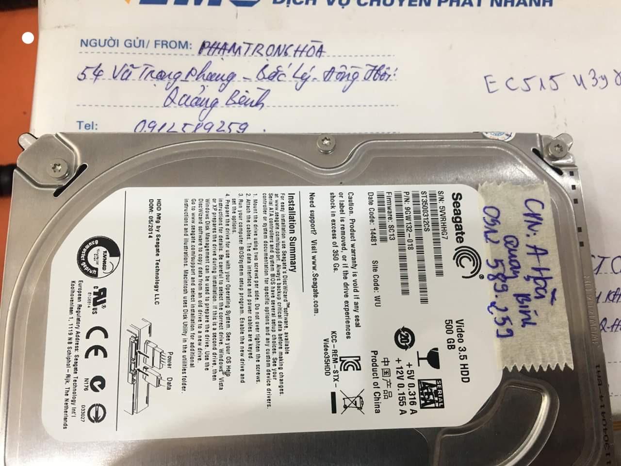 Khôi phục dữ liệu ổ cứng Seagate 500GB bó cơ tại Quảng Bình 06/06/2020 - cuumaytinh