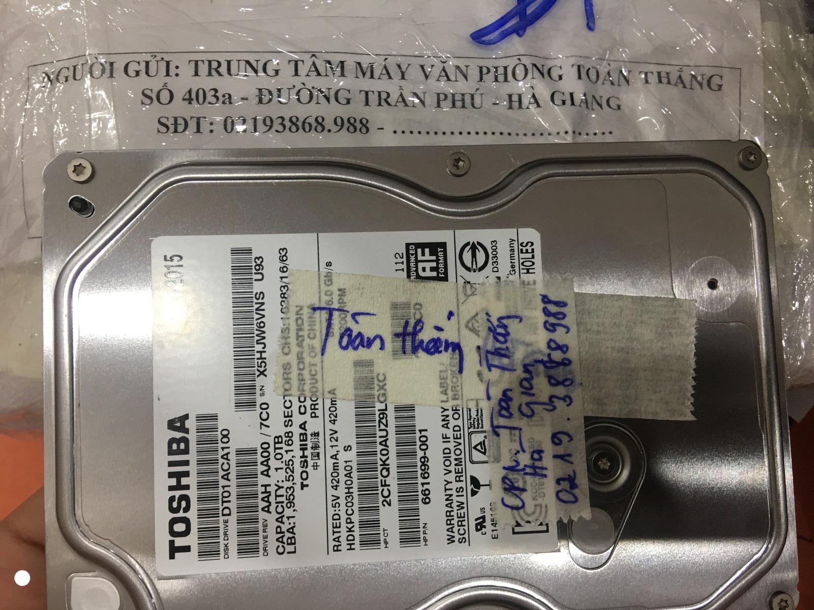 Khôi phục dữ liệu ổ cứng Toshiba 1TB lỗi đầu đọc tại Hà Giang 02/06/2020 - cuumaytinh