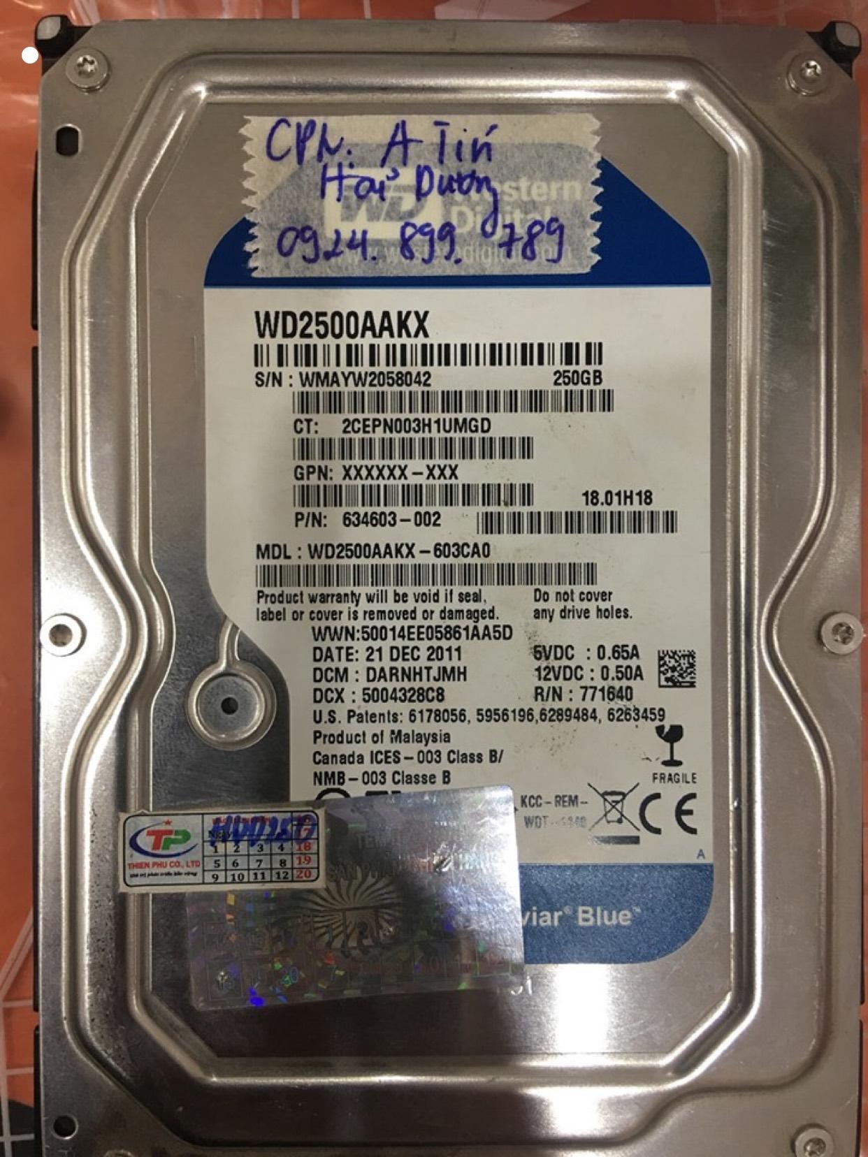 Khôi phục dữ liệu ổ cứng Western 250GB cháy tại Hải Dương 28/05/2020 - cuumaytinh