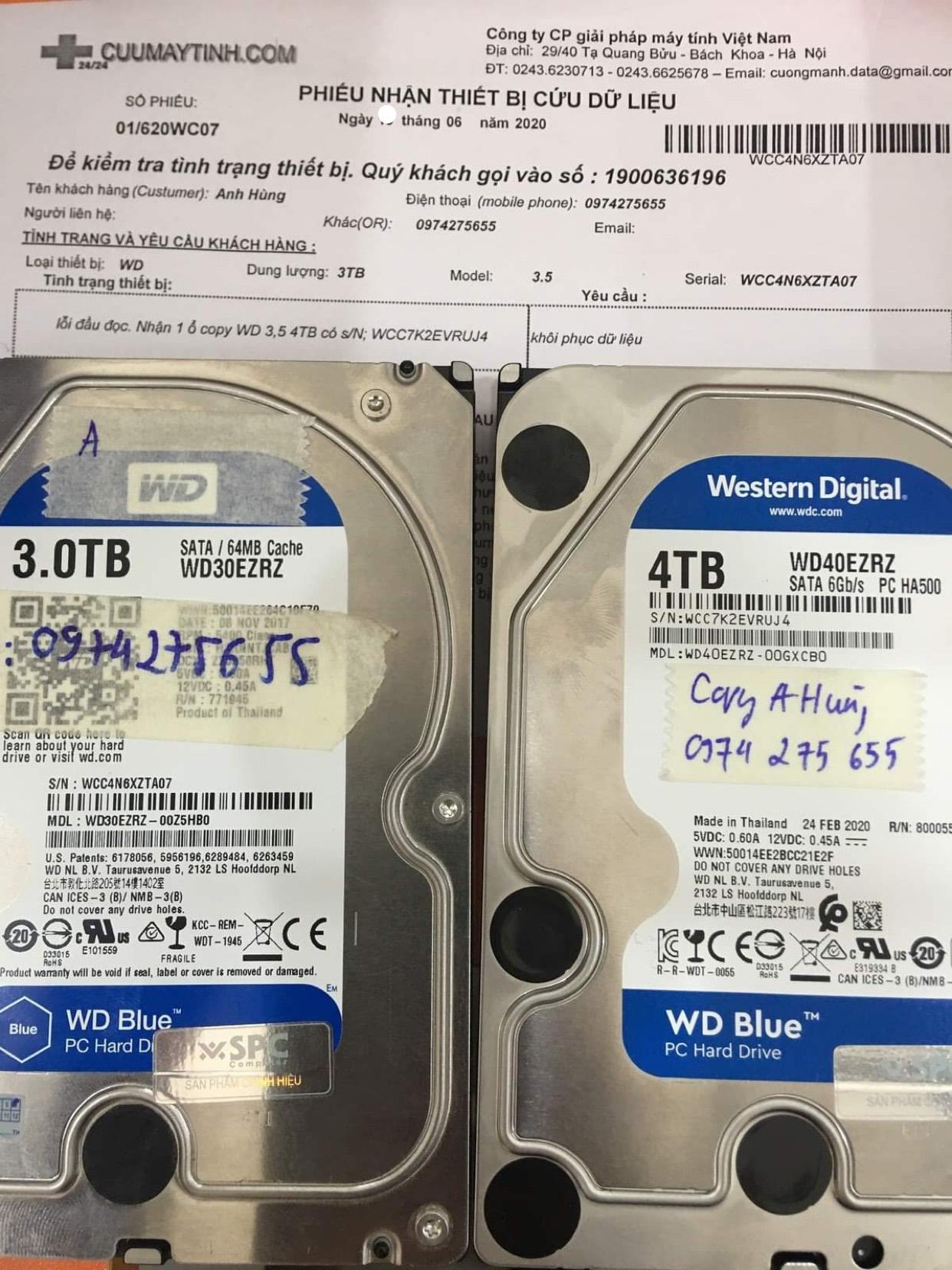 Khôi phục dữ liệu ổ cứng Western 3TB lỗi đầu đọc 25/06/2020 - cuumaytinh