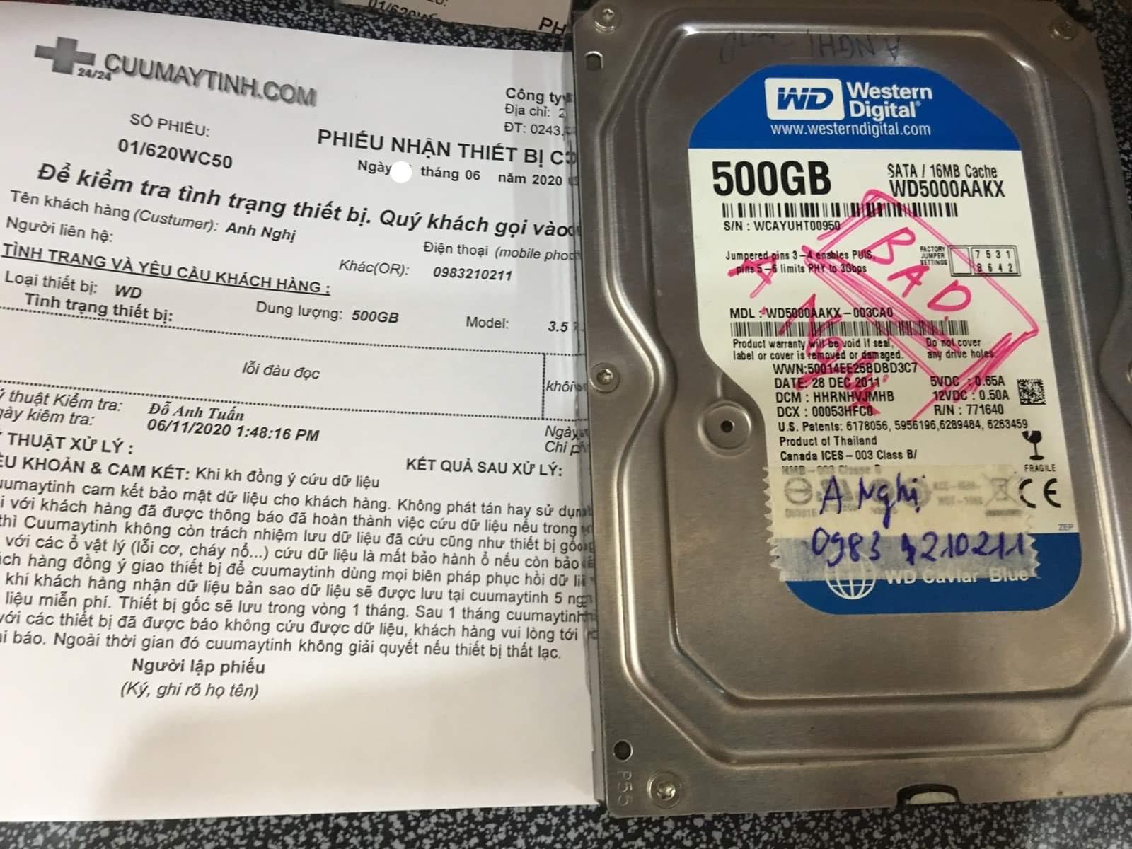 Khôi phục dữ liệu ổ cứng Western 500GB đầu đọc kém 13/06/2020 - cuumaytinh