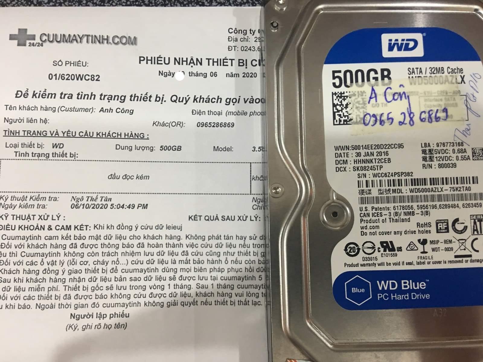 Khôi phục dữ liệu ổ cứng Western 500GB đầu đọc kém 16/06/2020 - cuumaytinh