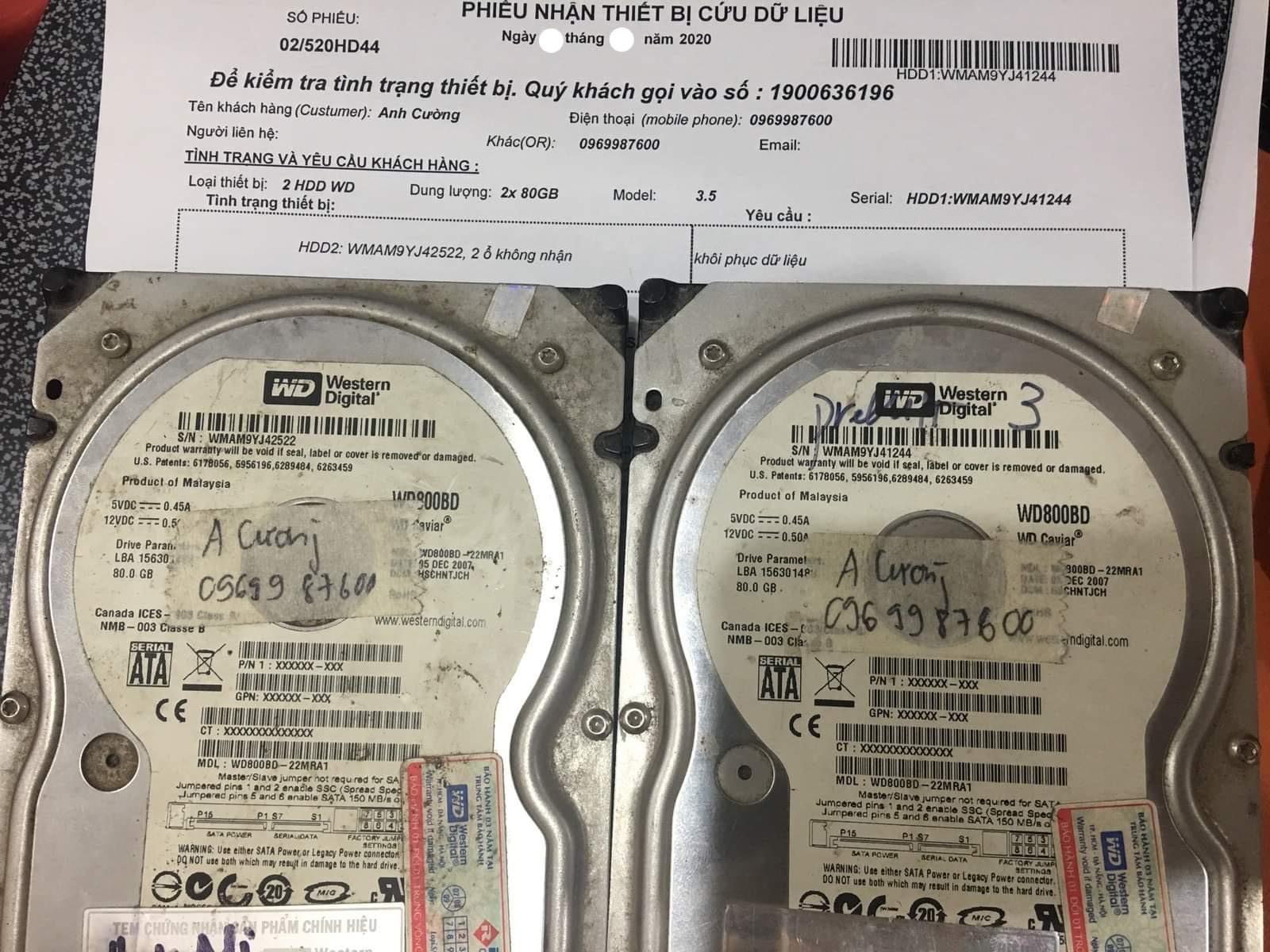 Khôi phục dữ liệu ổ cứng Western 80GB không nhận 04/06/2020 - cuumaytinh