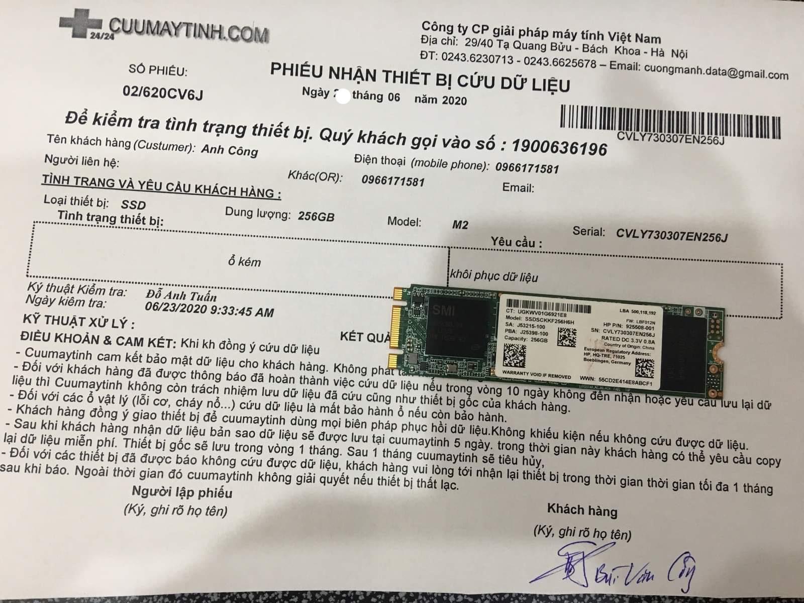 Lấy dữ liệu ổ cứng SSD 256GB lỗi chip 24/06/2020 - cuumaytinh