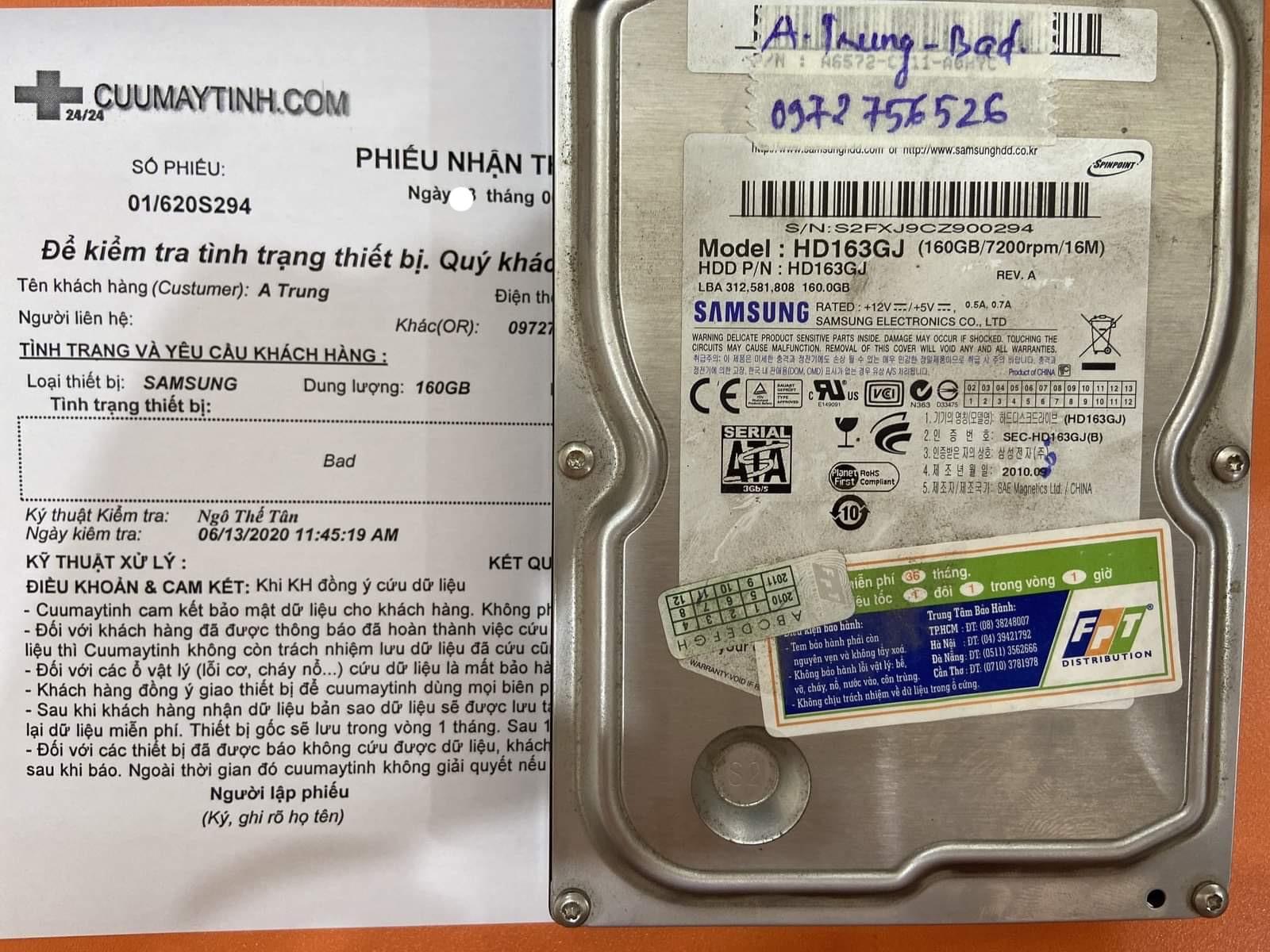 Lấy dữ liệu ổ cứng Samsung 160GB bad 16/06/2020 - cuumaytinh