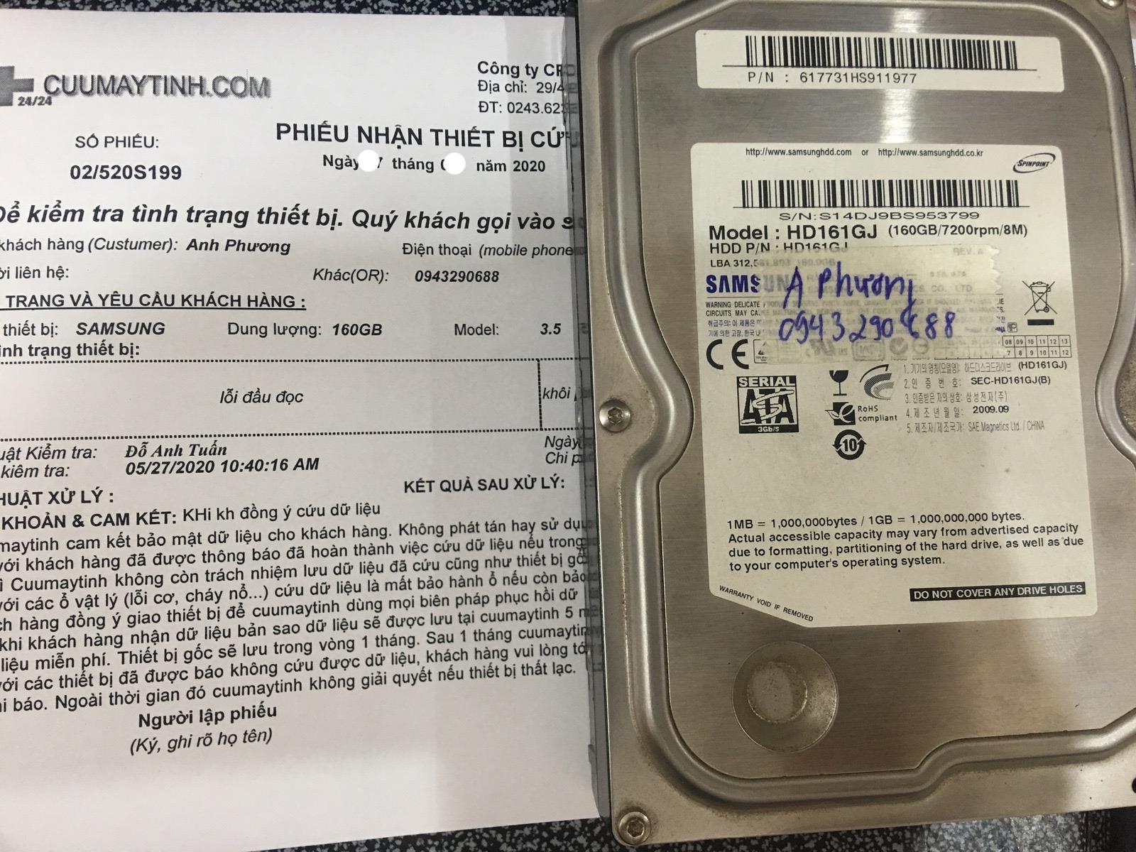 Lấy dữ liệu ổ cứng Samsung 160GB lỗi đầu đọc 02/06/2020 - cuumaytinh