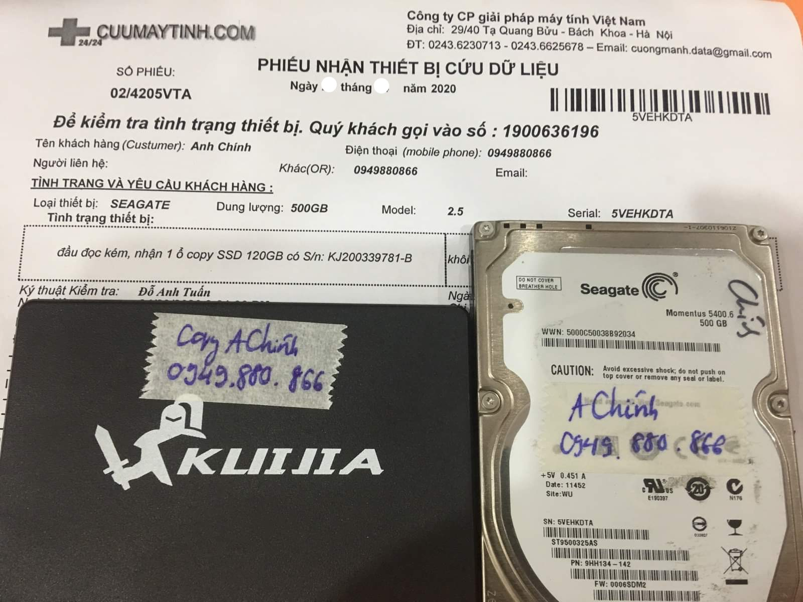 Lấy dữ liệu ổ cứng Seagate 500GB đầu đọc kém 18/06/2020 - cuumaytinh