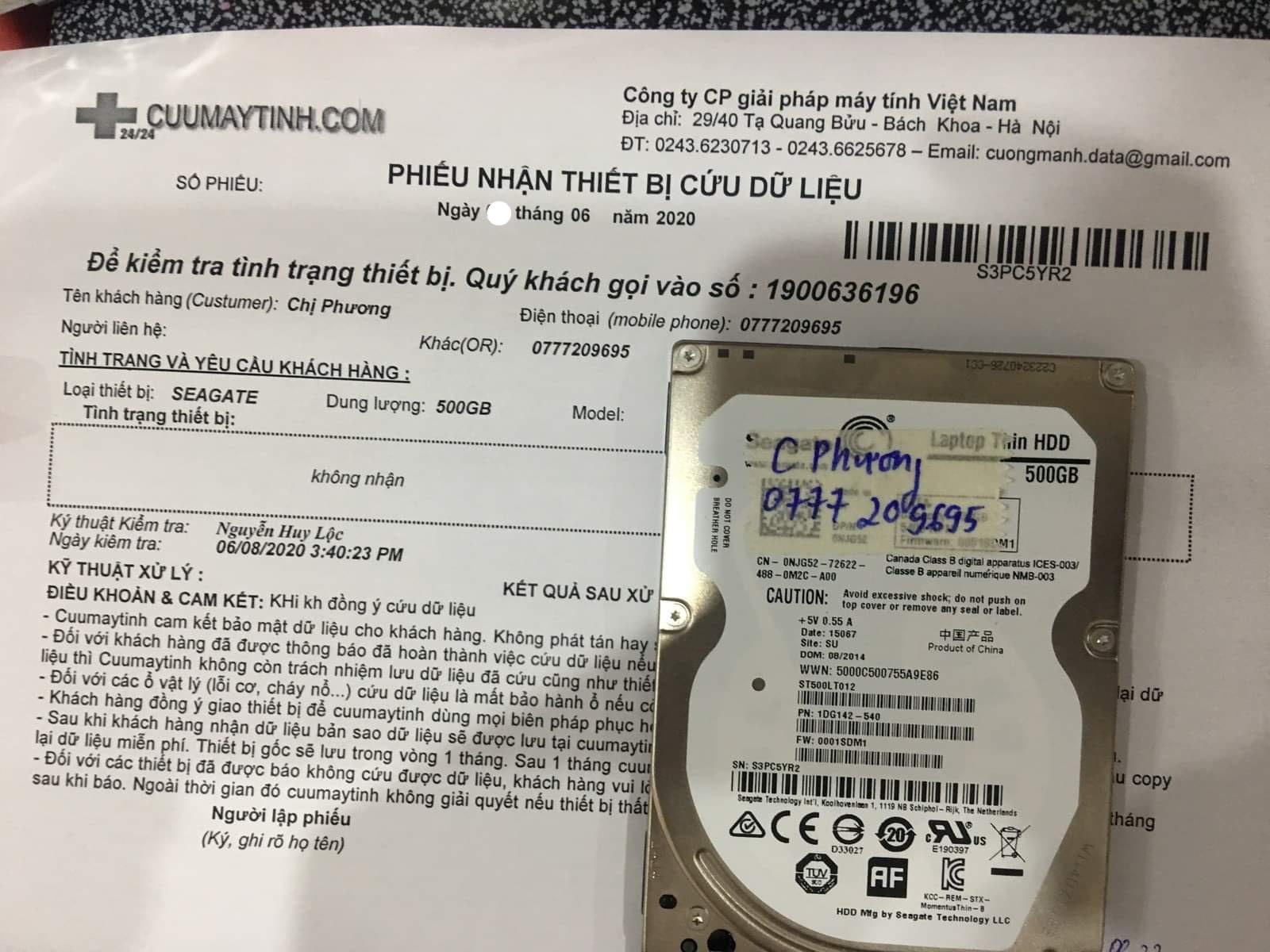 Lấy dữ liệu ổ cứng Seagate dung lượng 500GB không nhận 11/06/2020 - cuumaytinh