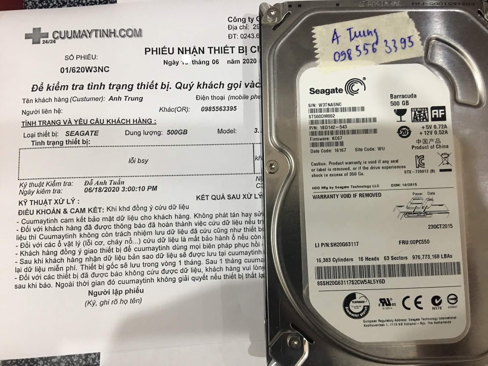 Lấy dữ liệu ổ cứng Seagate 500GB không nhận 19/06/2020 - cuumaytinh