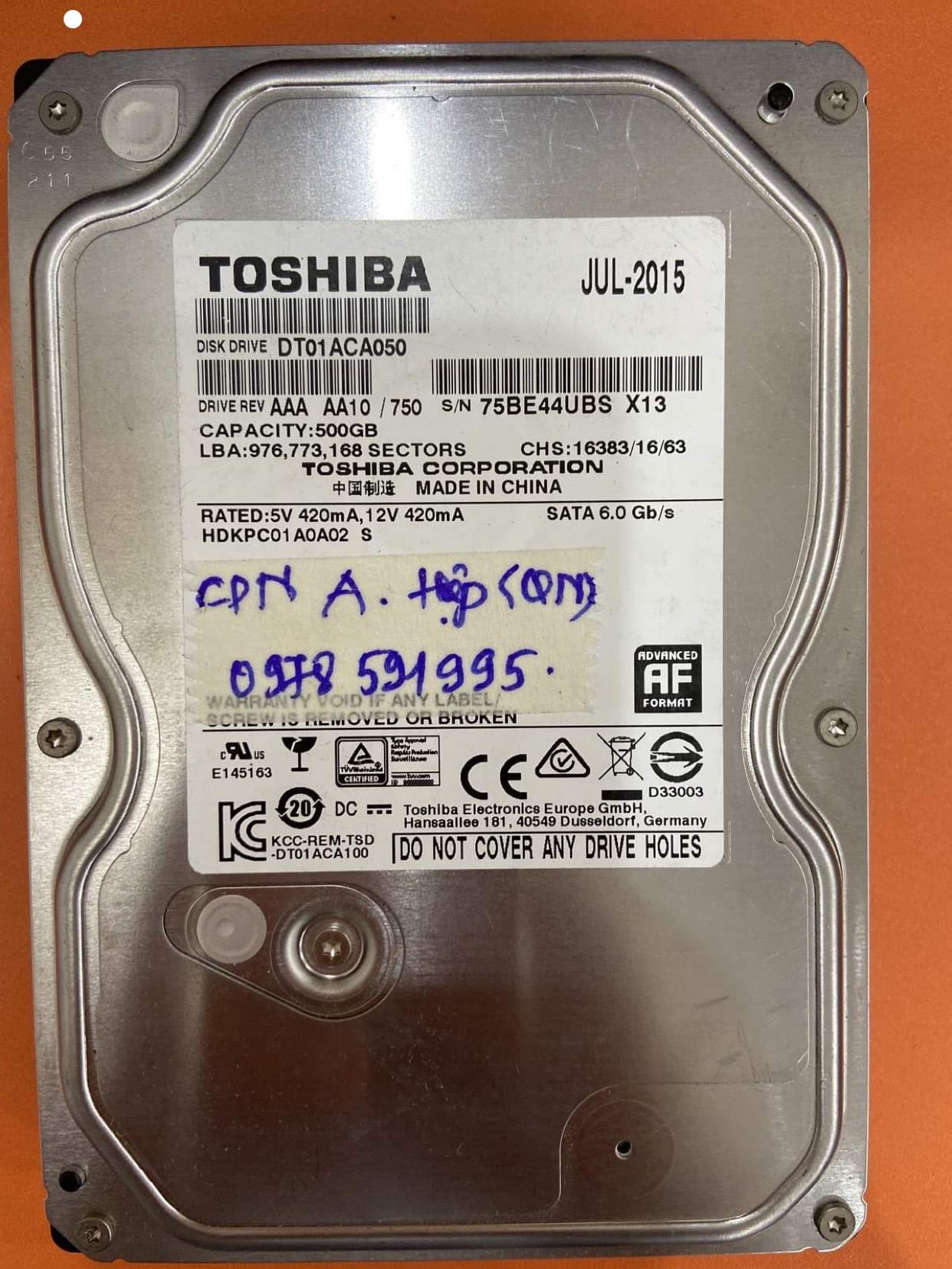 Lấy dữ liệu ổ cứng Toshiba 500GB chập cháy 06/06/2020 - cuumaytinh