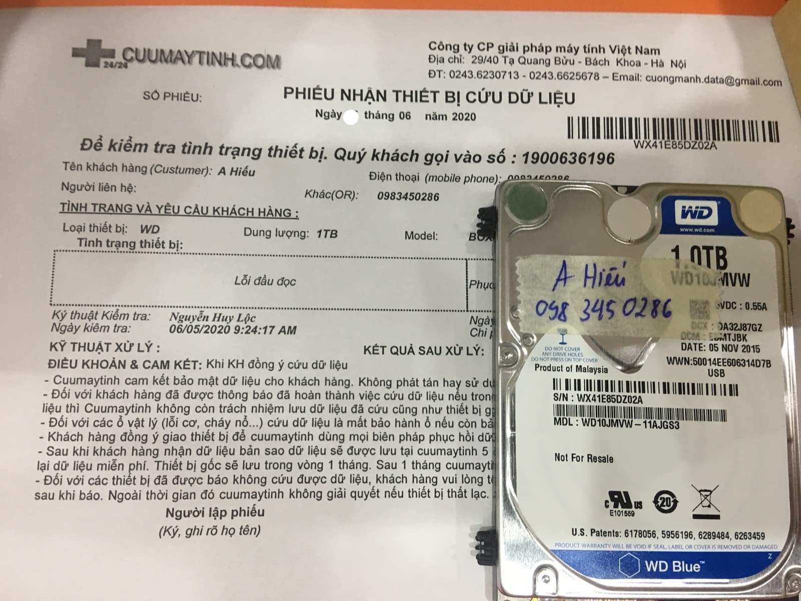 Lấy dữ liệu ổ cứng Western 1TB lỗi đầu đọc 10/06/2020 - cuumaytinh