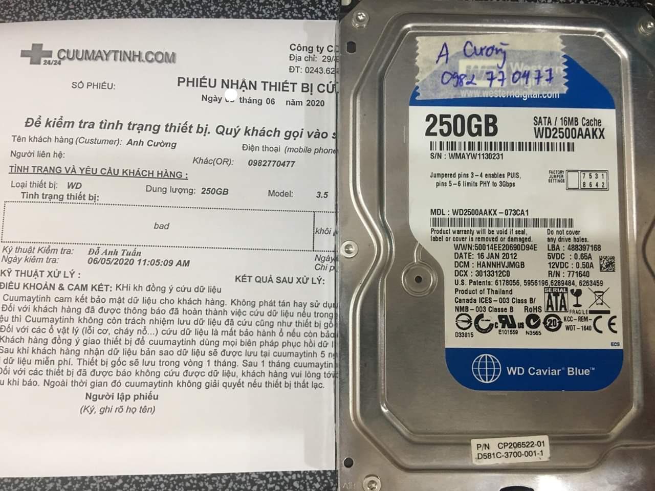 Lấy dữ liệu ổ cứng Western 250GB bad 09/06/2020 - cuumaytinh